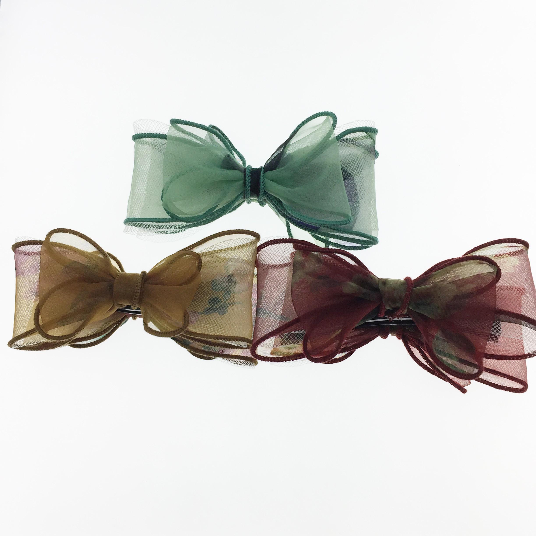 韓國  蝴蝶結 花 三色 相交夾 髮飾