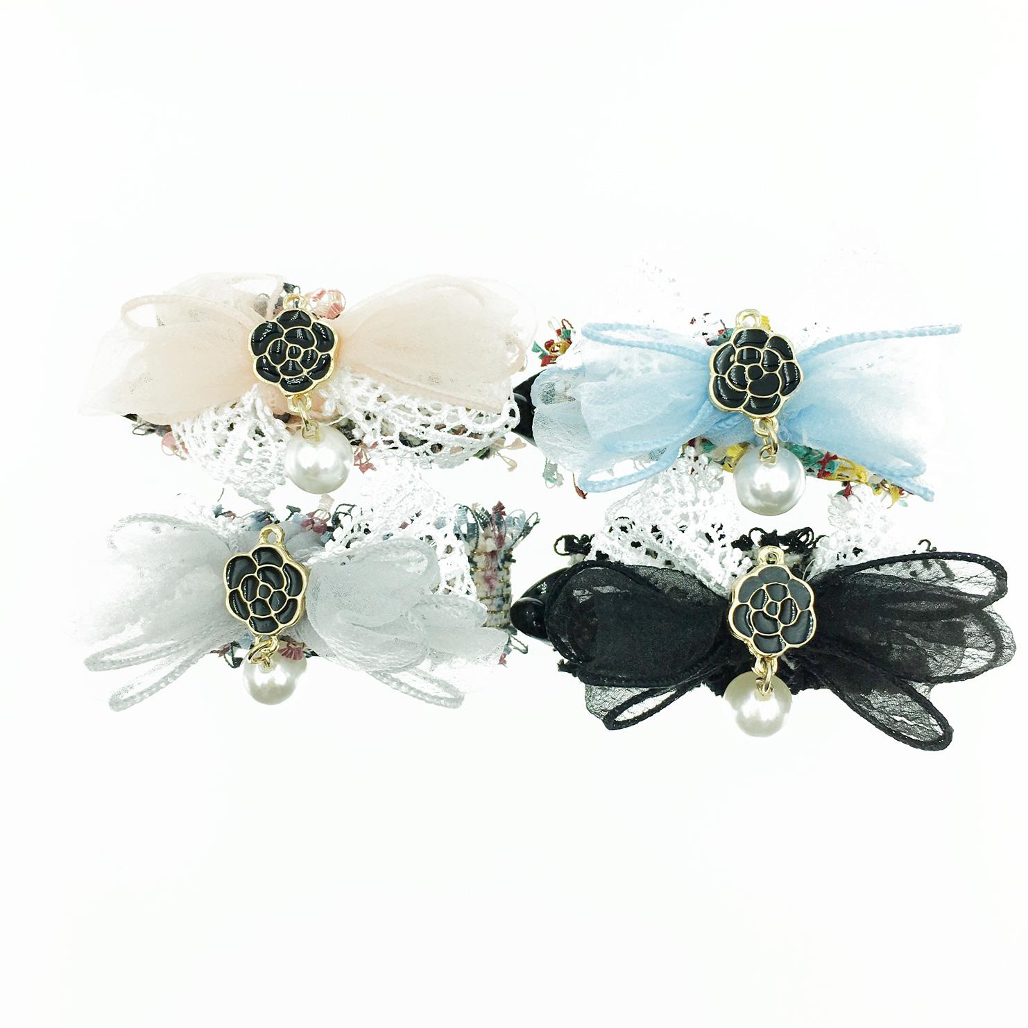 韓國 小香風 珍珠 山茶花 蕾絲蝴蝶結 4色 髮飾 相交夾