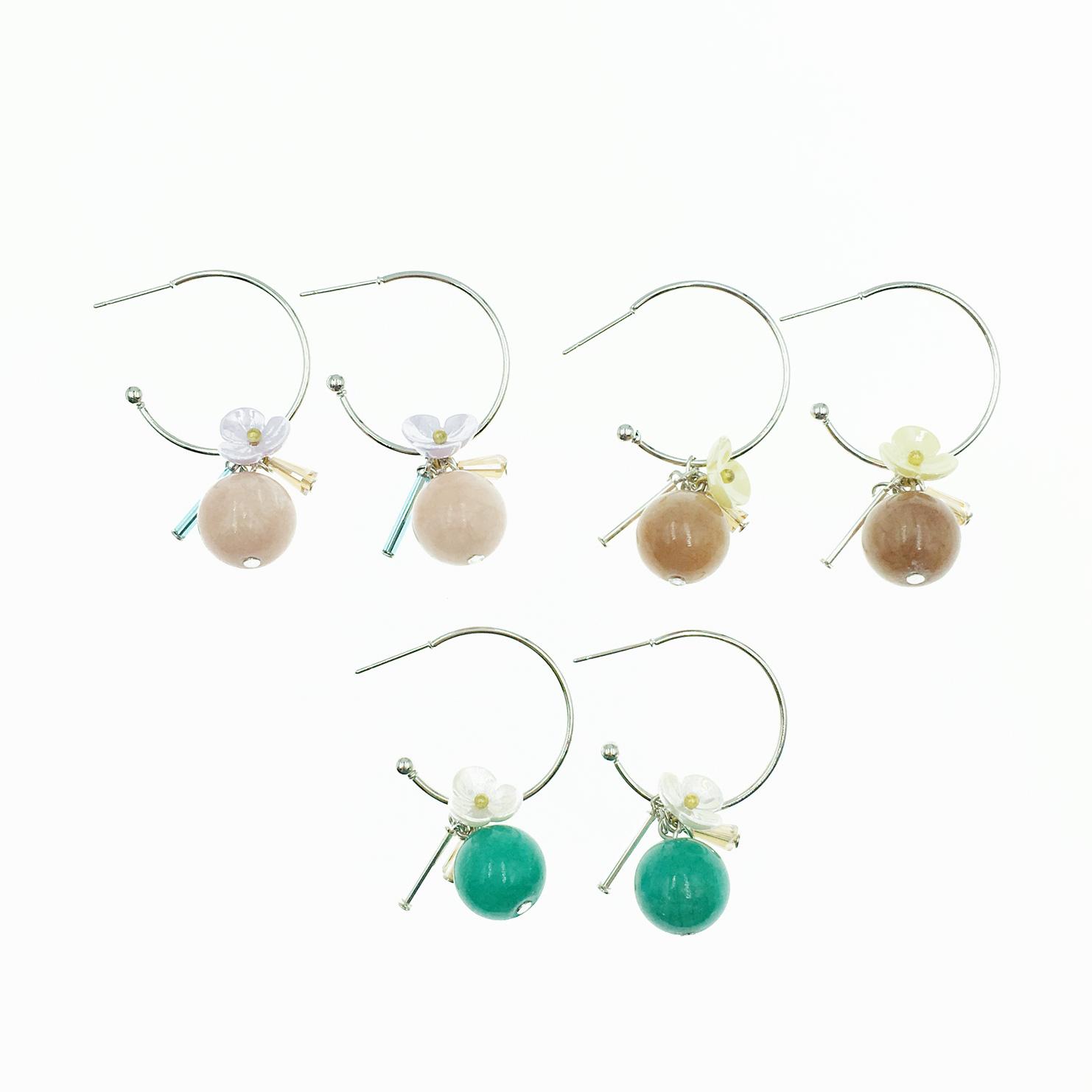 韓國 C環圈 小花 3色 垂墜感 耳針式耳環