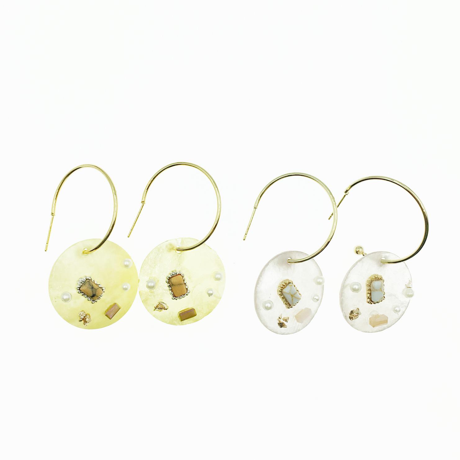 韓國 C環圈 珍珠 涼感寶石水晶 2色 垂墜感 耳針式耳環