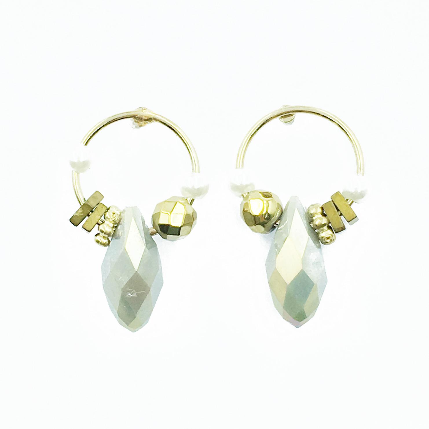 韓國 簍空圓 珍珠 寶石 垂墜感 耳針式耳環