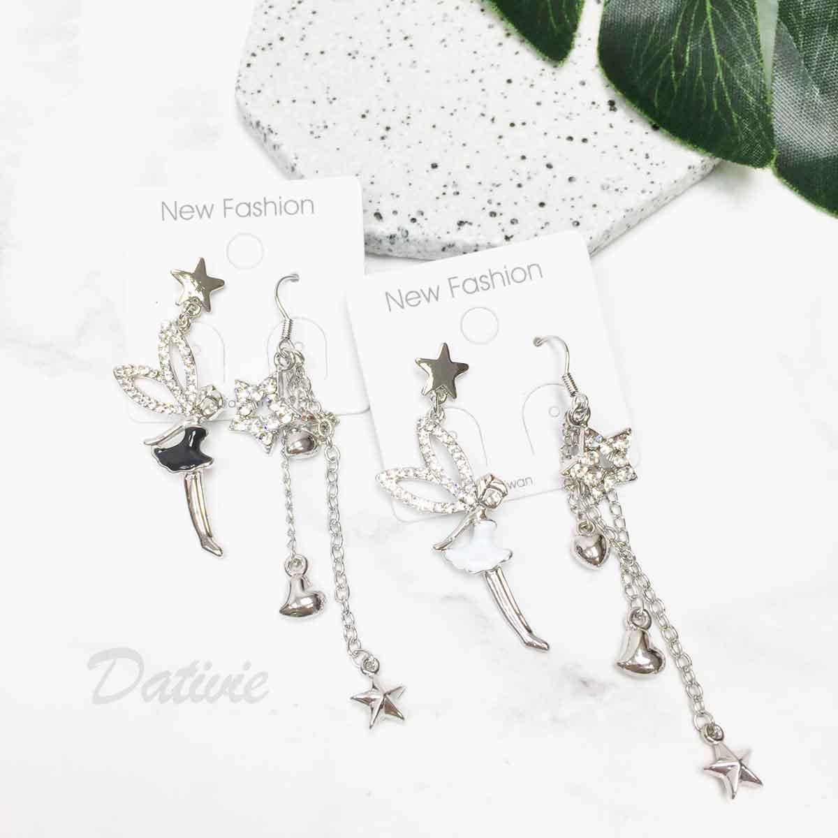 小精靈 不對稱 水鑽 星星 愛心 2色 垂墜感 耳勾耳針式耳環