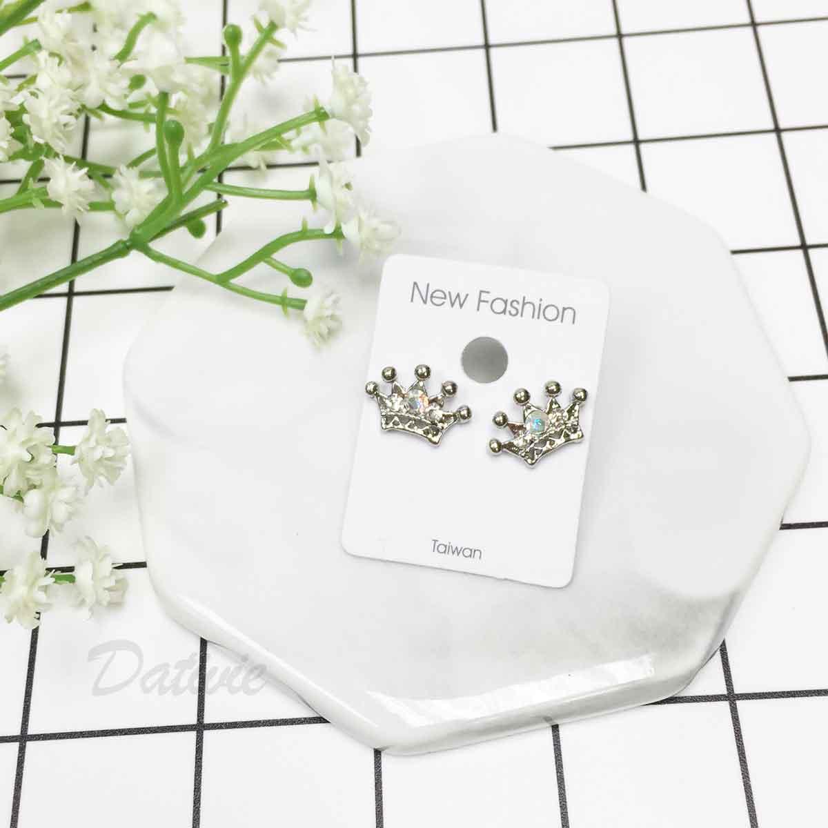 皇冠 公主風 水鑽 銀色 耳針式耳環