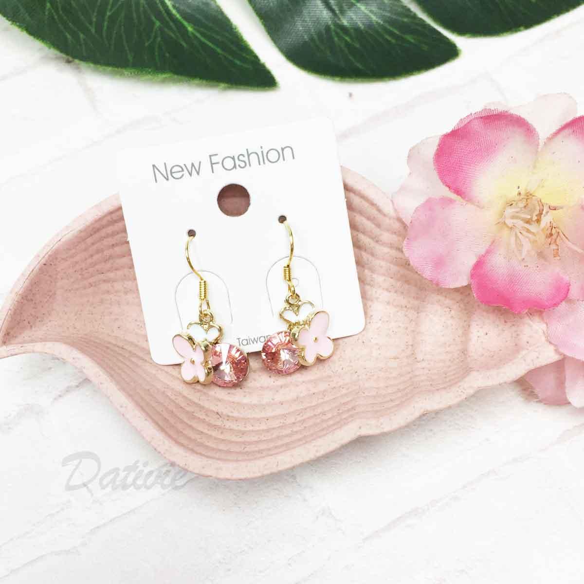 蝴蝶 粉色 圓鑽 垂墜感 耳勾式耳環