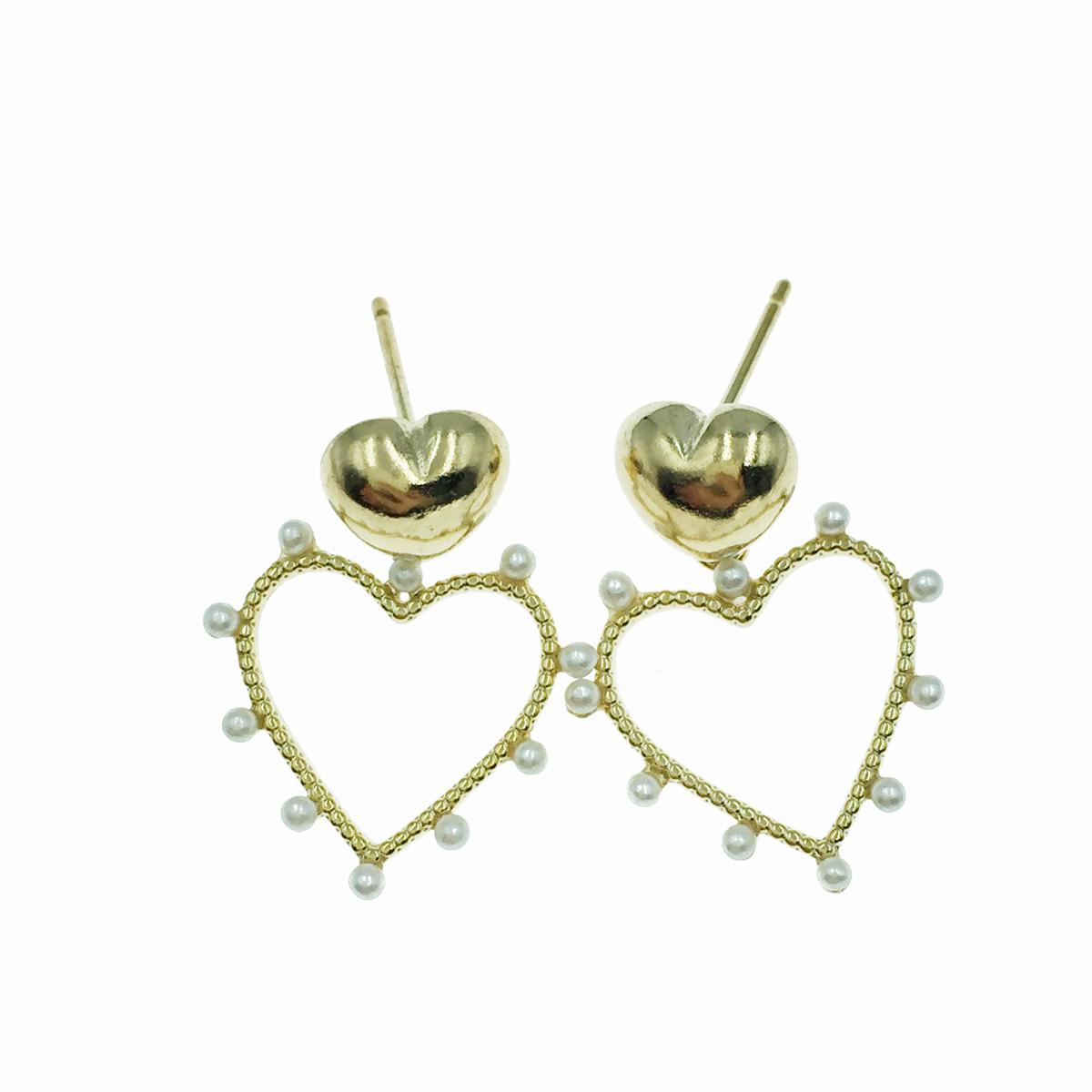 韓國 簍空愛心 張珠 金色 垂墜感 耳針式耳環