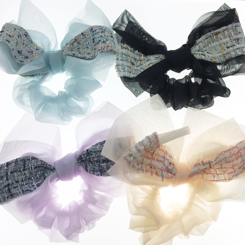韓國 大蝴蝶結 浮誇 編織 五色 髮飾 髮圈 大腸圈