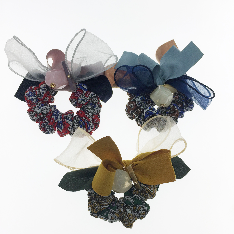 韓國 幾何木 大理石 蝴蝶結 三色 髮飾 髮圈 大腸圈