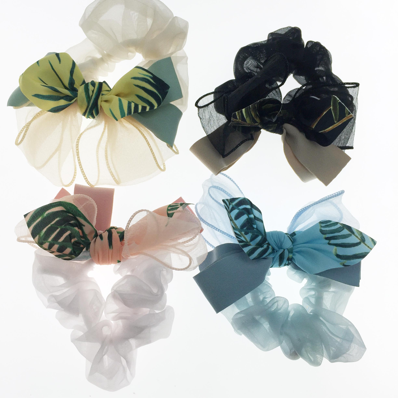 韓國 葉子 夏威夷風 蝴蝶結 四色 髮飾 髮圈 大腸圈