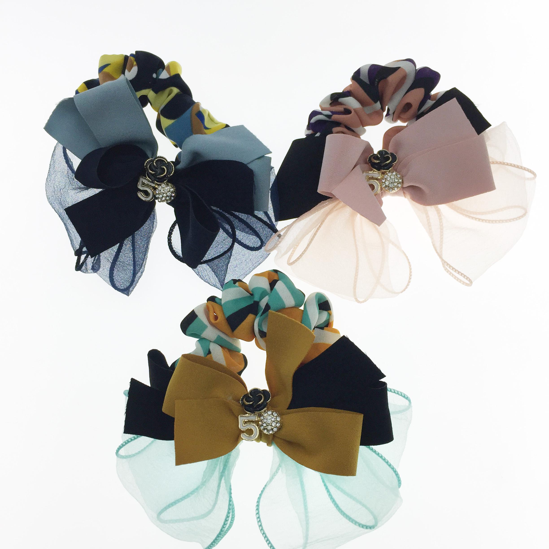 韓國 小香花 小香5 蝴蝶結 水鑽 幾何 三色 髮飾 大腸圈