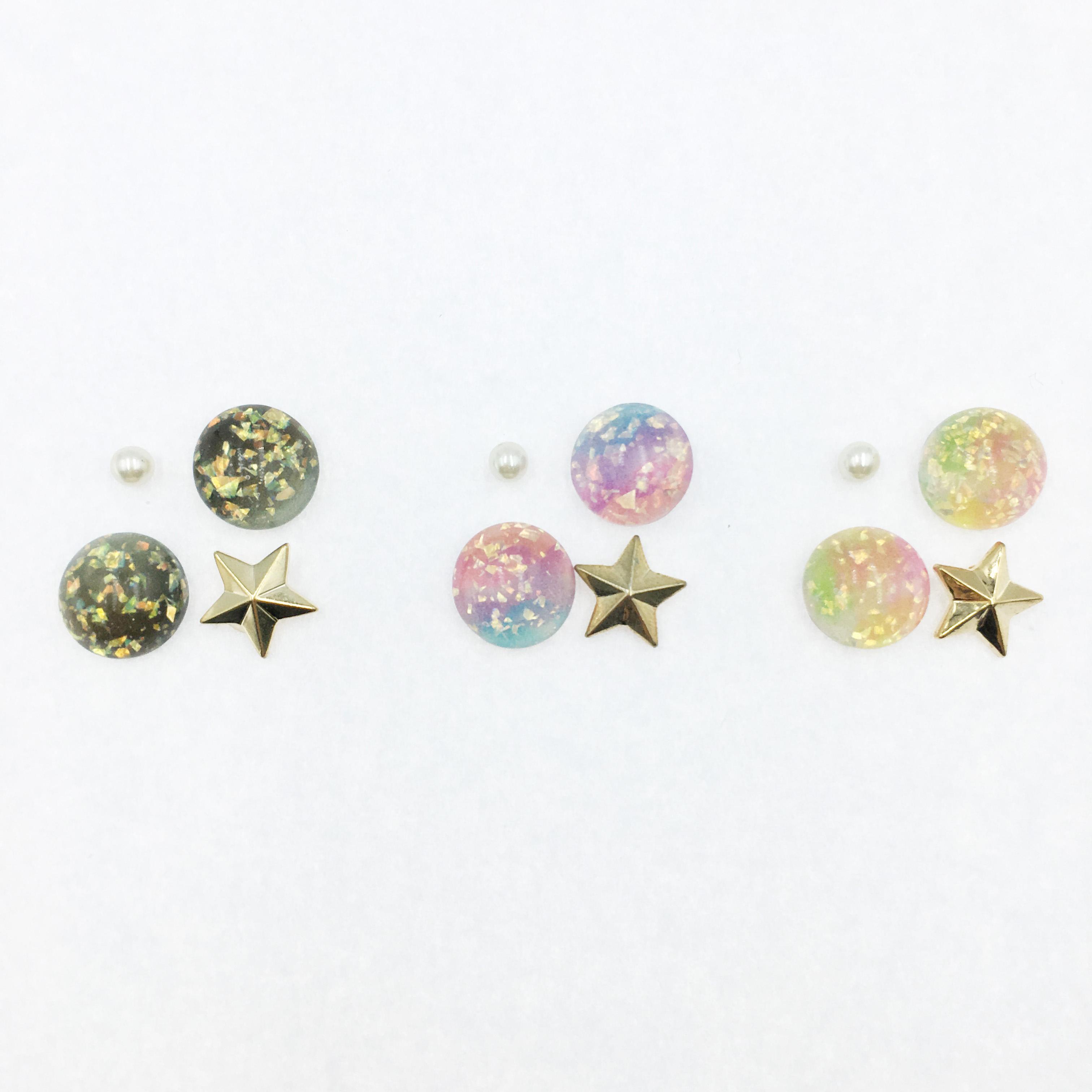 韓國 星星 珍珠 亮片  星空 四入組 三色 耳針式耳環