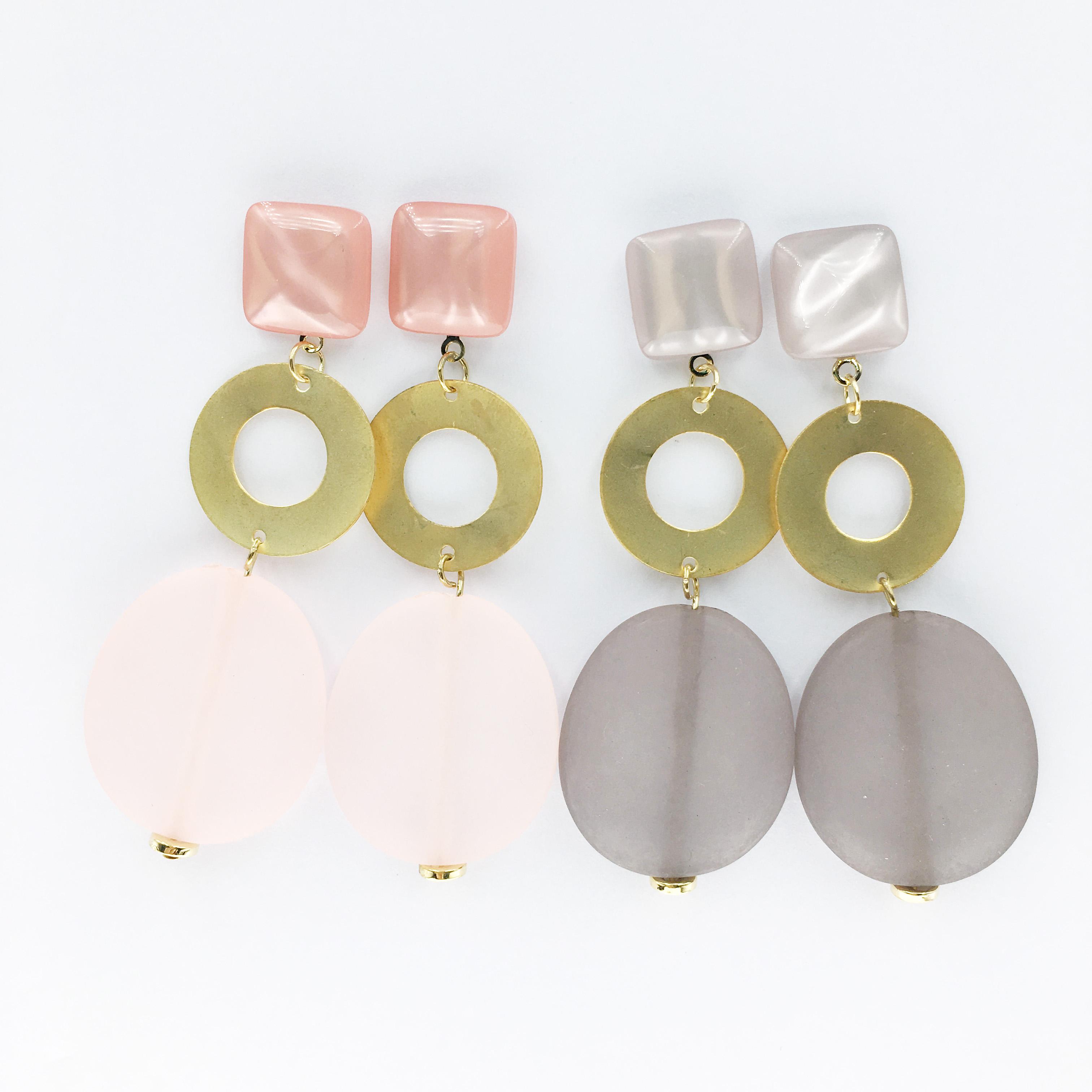 韓國 正方形 金圓片 微透明 垂墜感 兩色 耳針式耳環