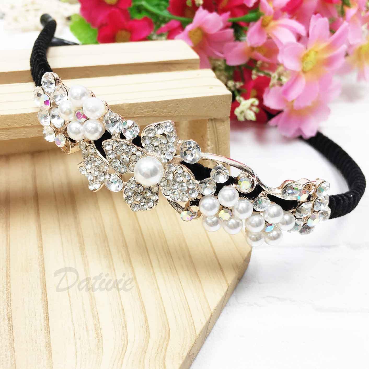 花 珍珠 水鑽 髮飾 髮箍 頭箍