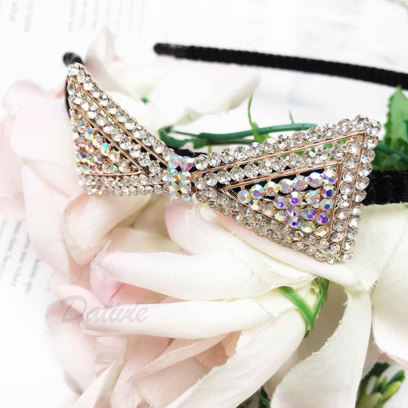 蝴蝶結 滿版 水鑽 髮飾 髮箍 頭箍