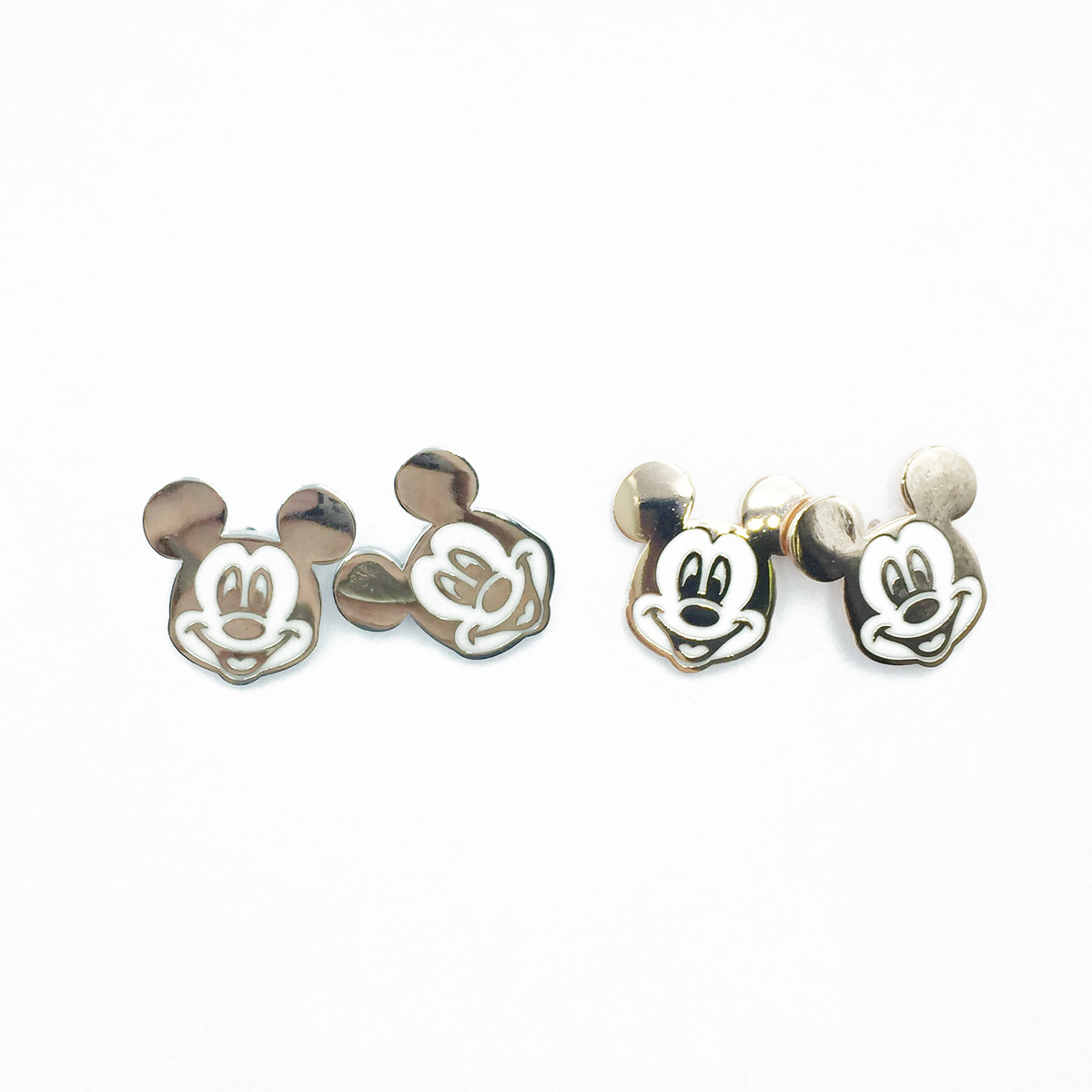 韓國 925純銀 迪士尼 米奇 金屬 貼耳 2色 耳針式耳環