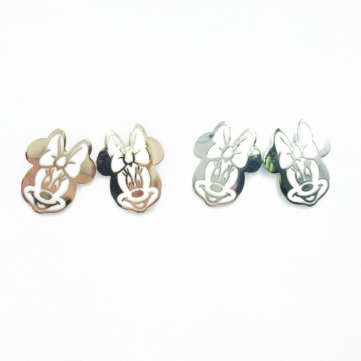 韓國 925純銀 迪士尼 米妮 貼耳 金屬 2色 耳針式耳環