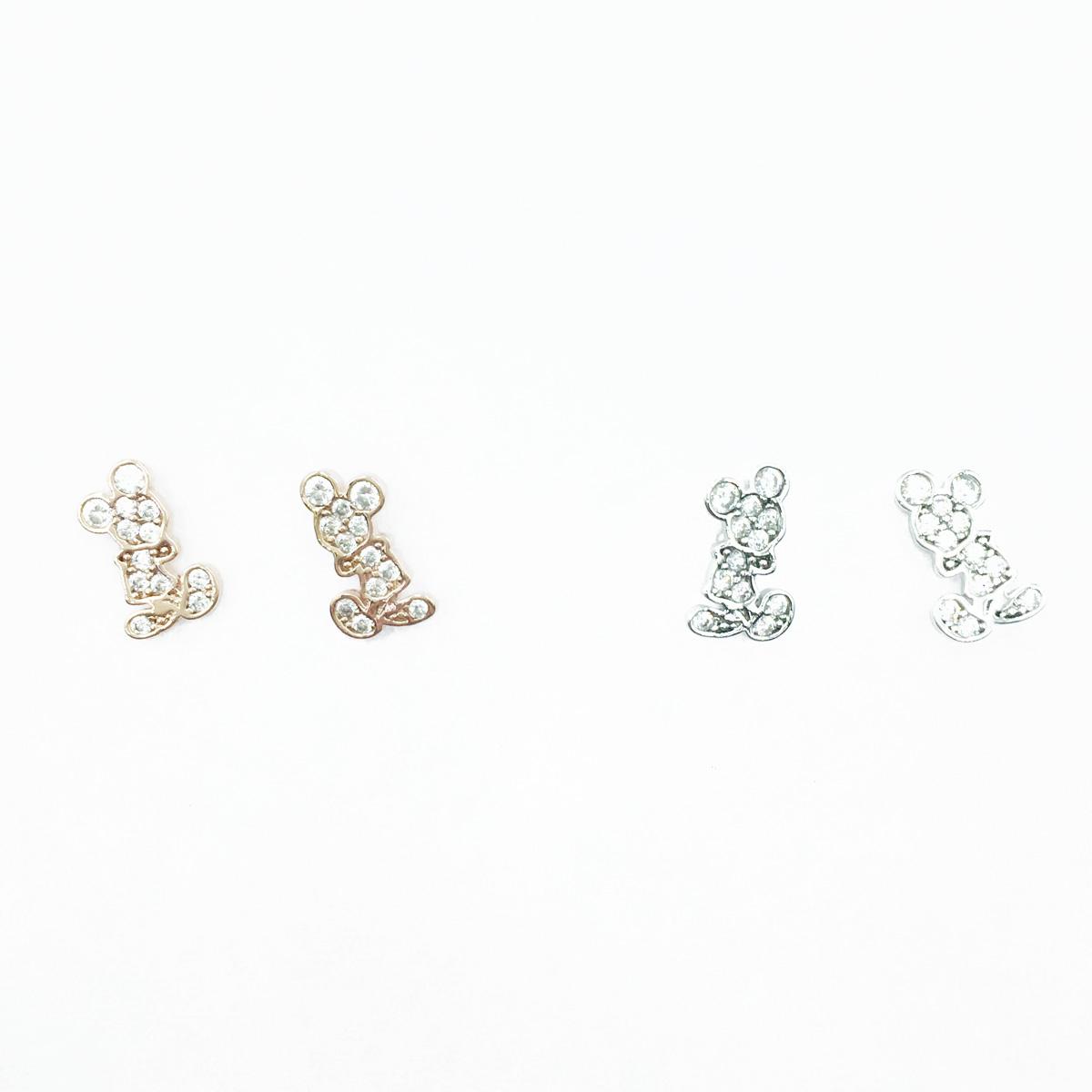 韓國 925純銀 迪士尼 米奇 水鑽滿版 影 2色 耳針式耳環