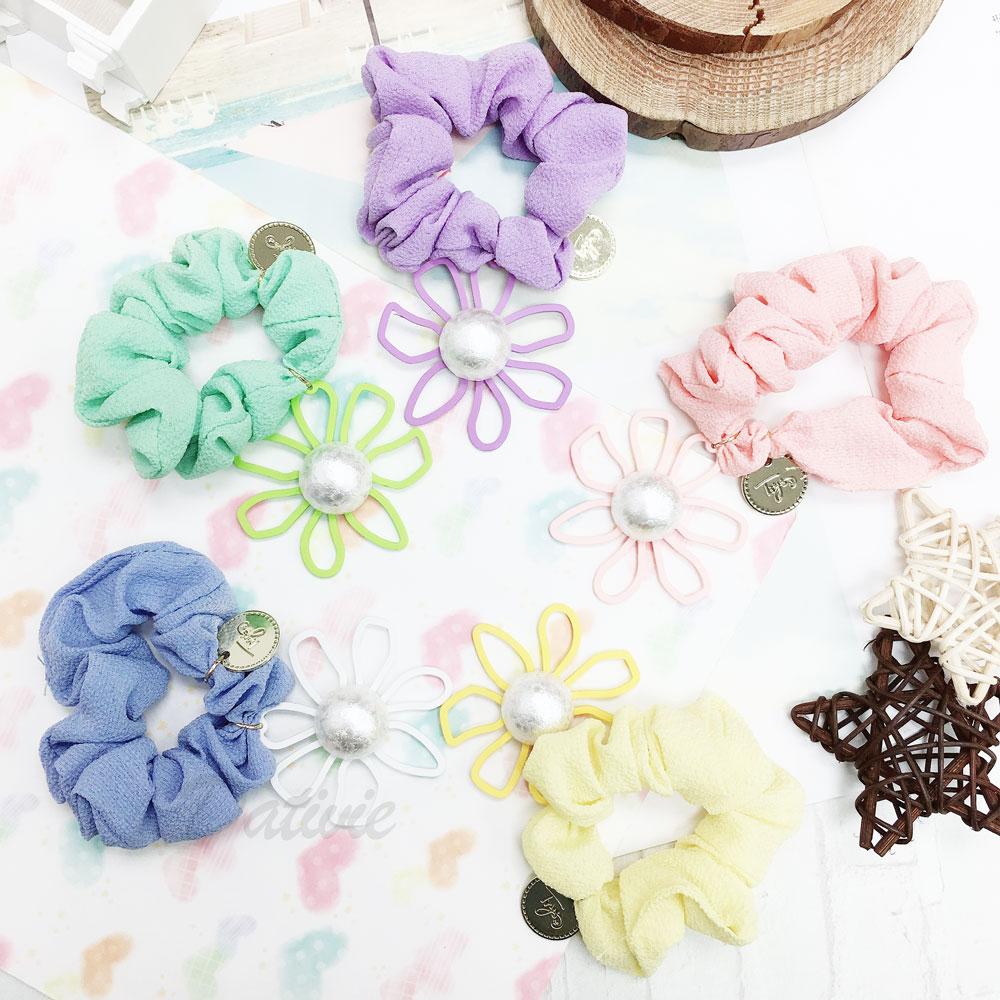 韓國 花朵 浮誇 可愛 立體 英文 五色 大腸圈 髮飾