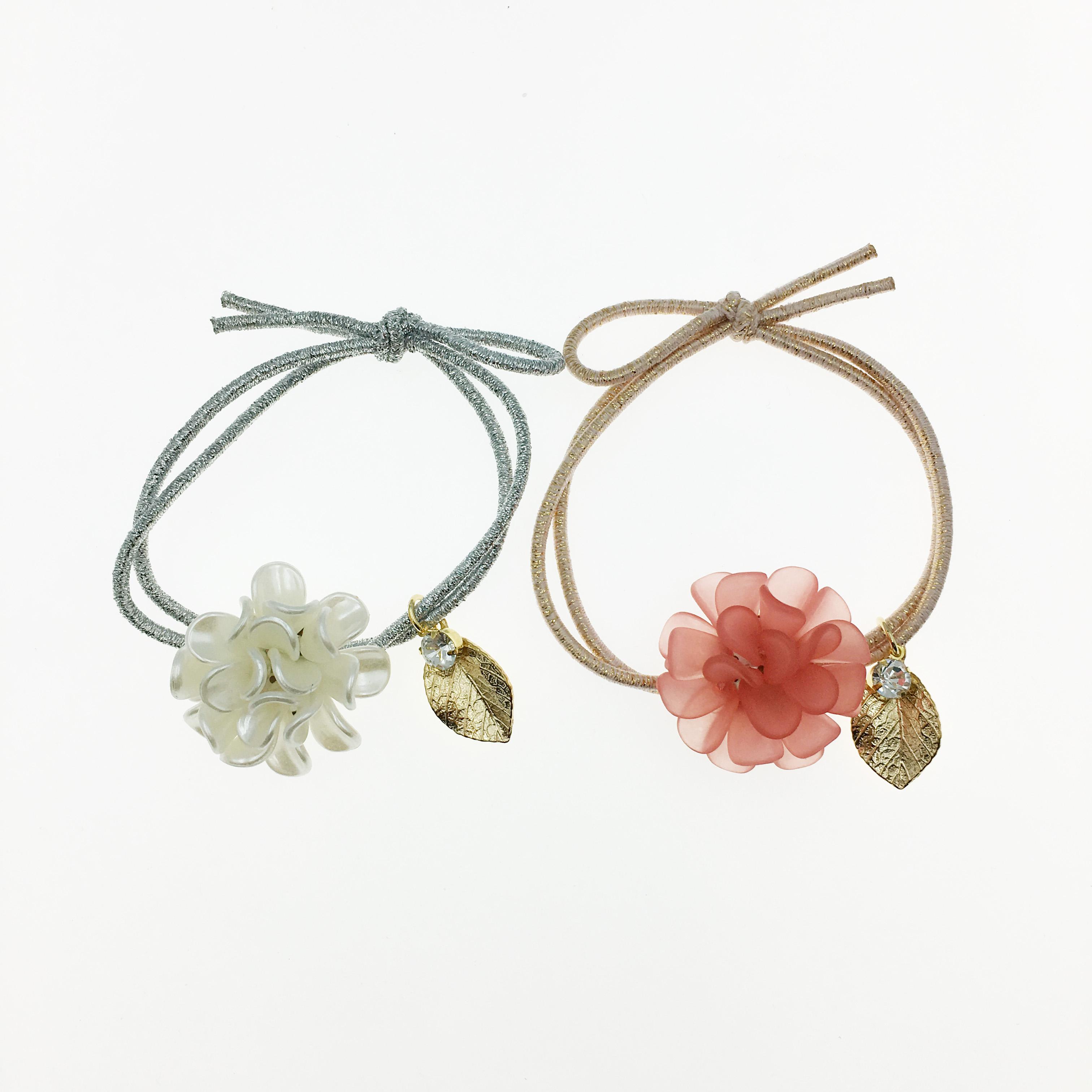 韓國 立體花 水鑽 葉子 兩色 髮圈 髮飾 髮束