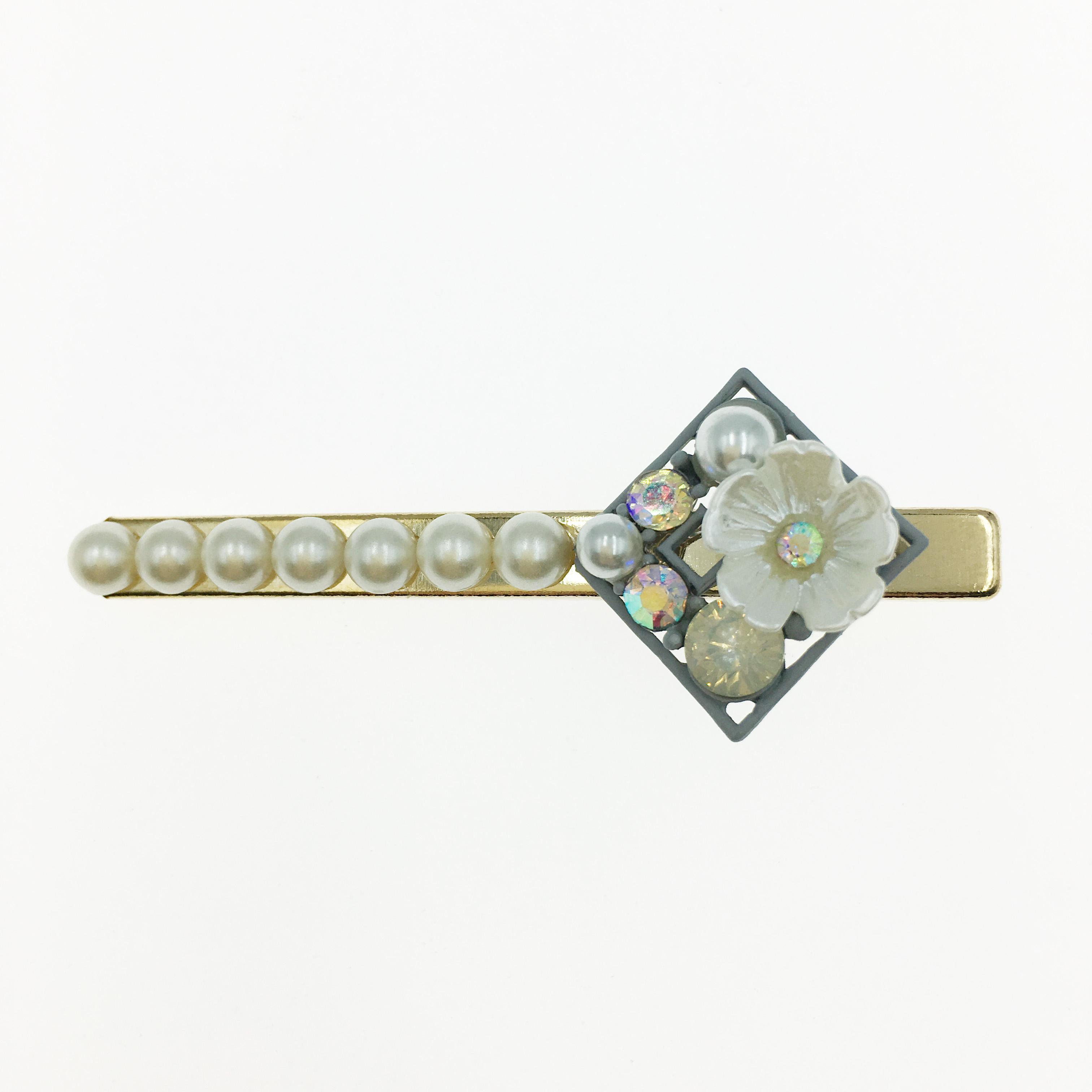 韓國 小花 水鑽 珍珠 方形 壓夾 髮夾 髮飾