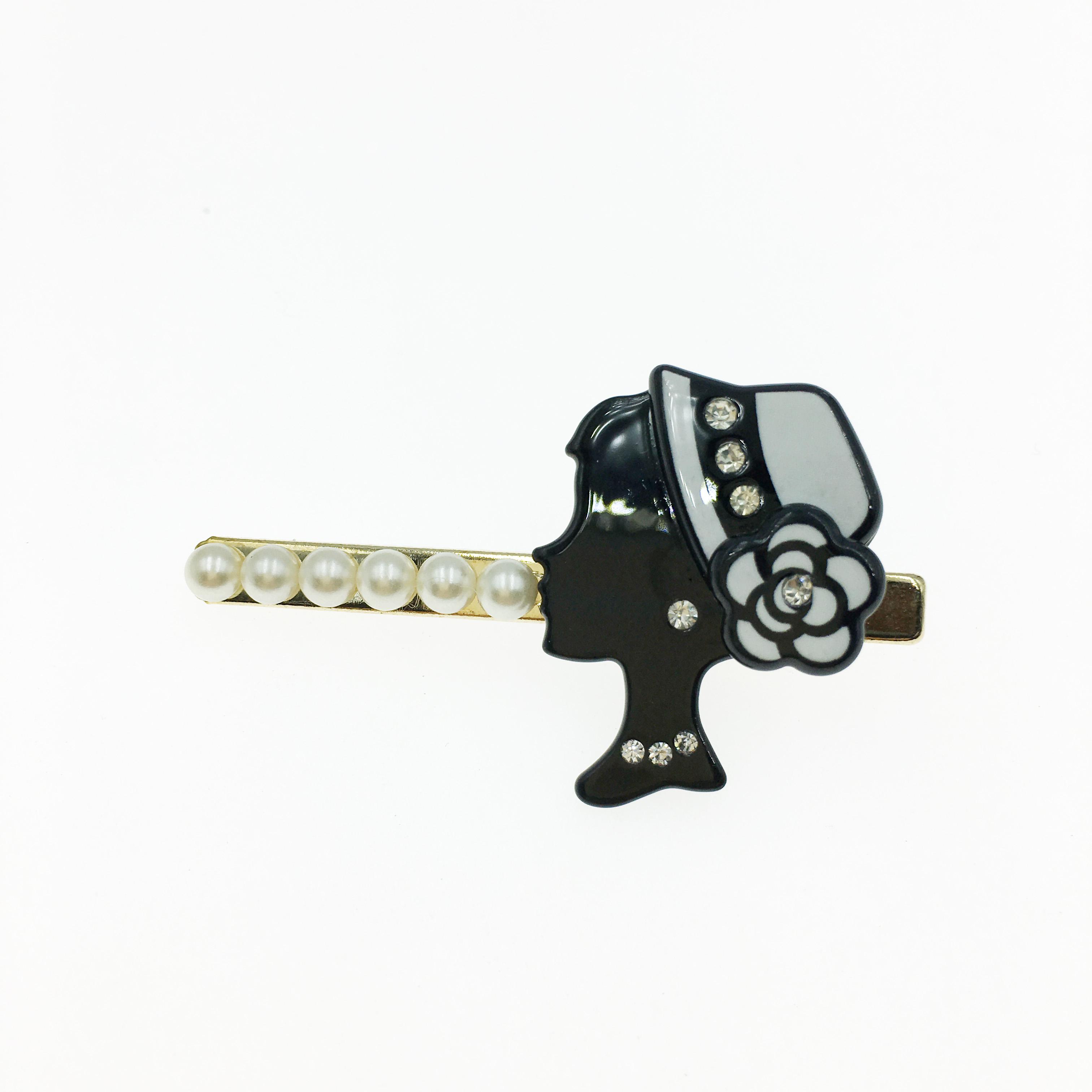 韓國 女人頭 小香風 水鑽 珍珠 壓夾 髮夾 髮飾