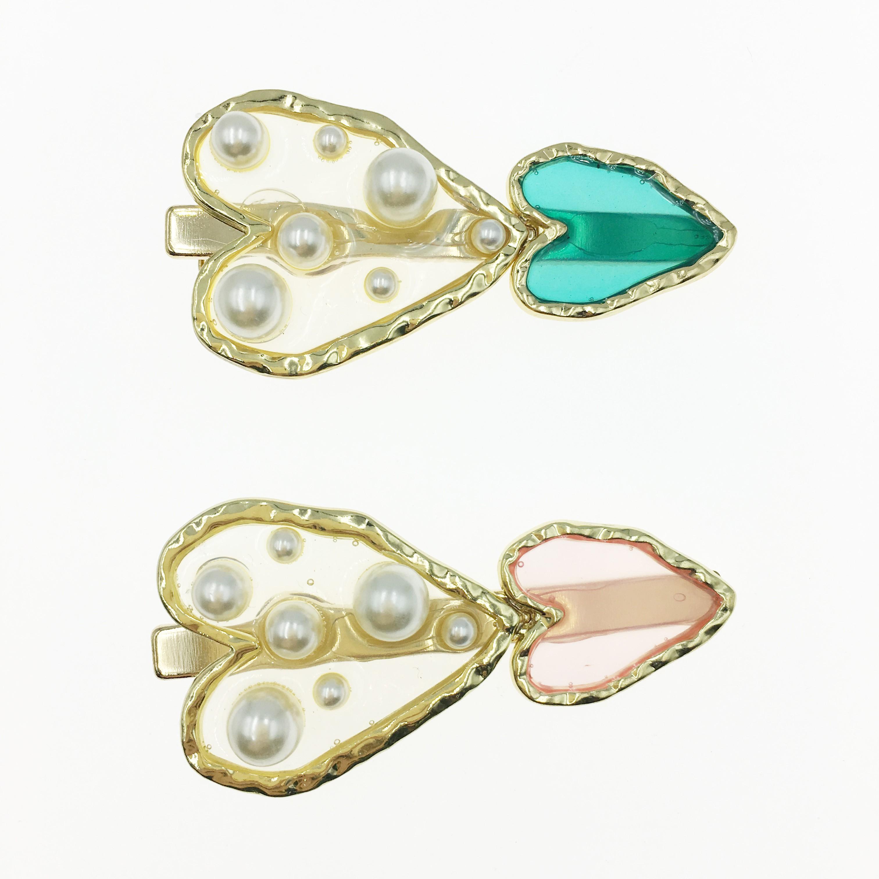 韓國 愛心 金邊 珍珠 兩色 壓夾 髮夾 髮飾