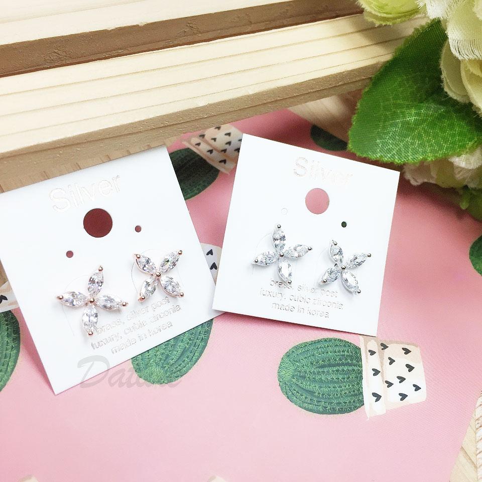 韓國 925純銀 明星款 水鑽 花 兩色 耳針式 耳環