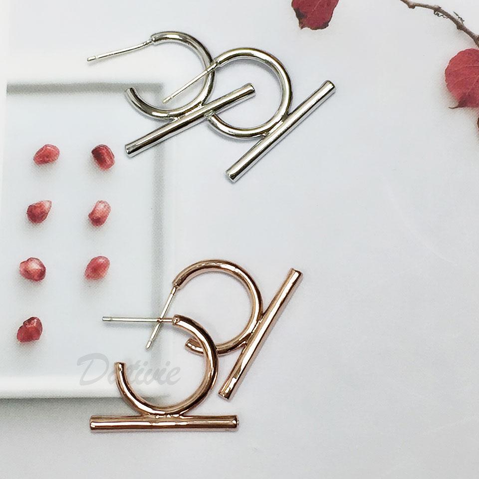 韓國 925純銀 明星款 金屬 簡約 兩色 耳針 耳環