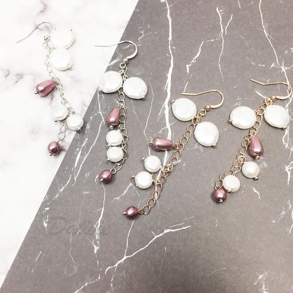 韓國 925純銀 明星款 天然珠 兩色 耳勾飾 耳環