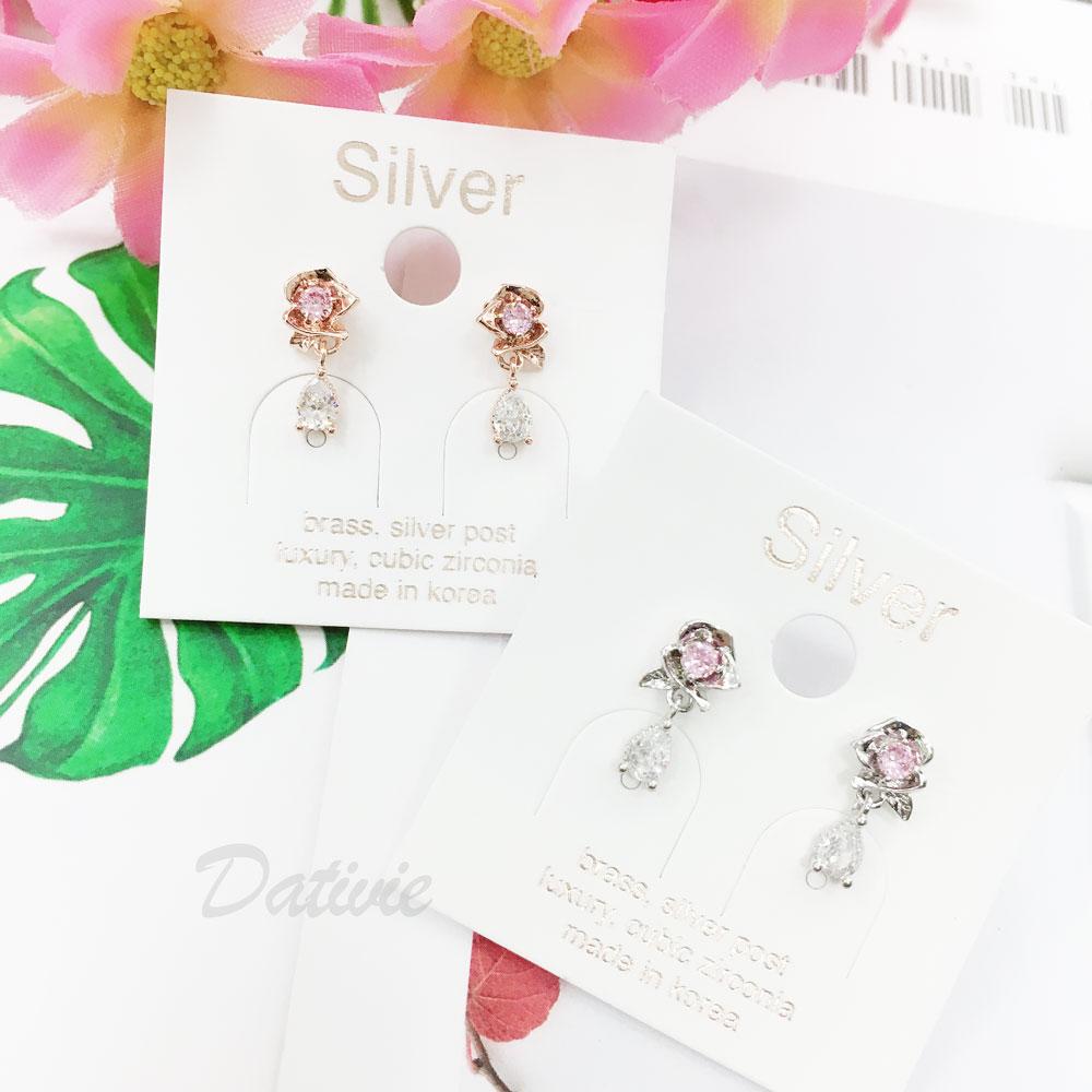韓國 925純銀 明星款 水鑽 玫瑰 垂墜感 兩色 耳針式 耳環