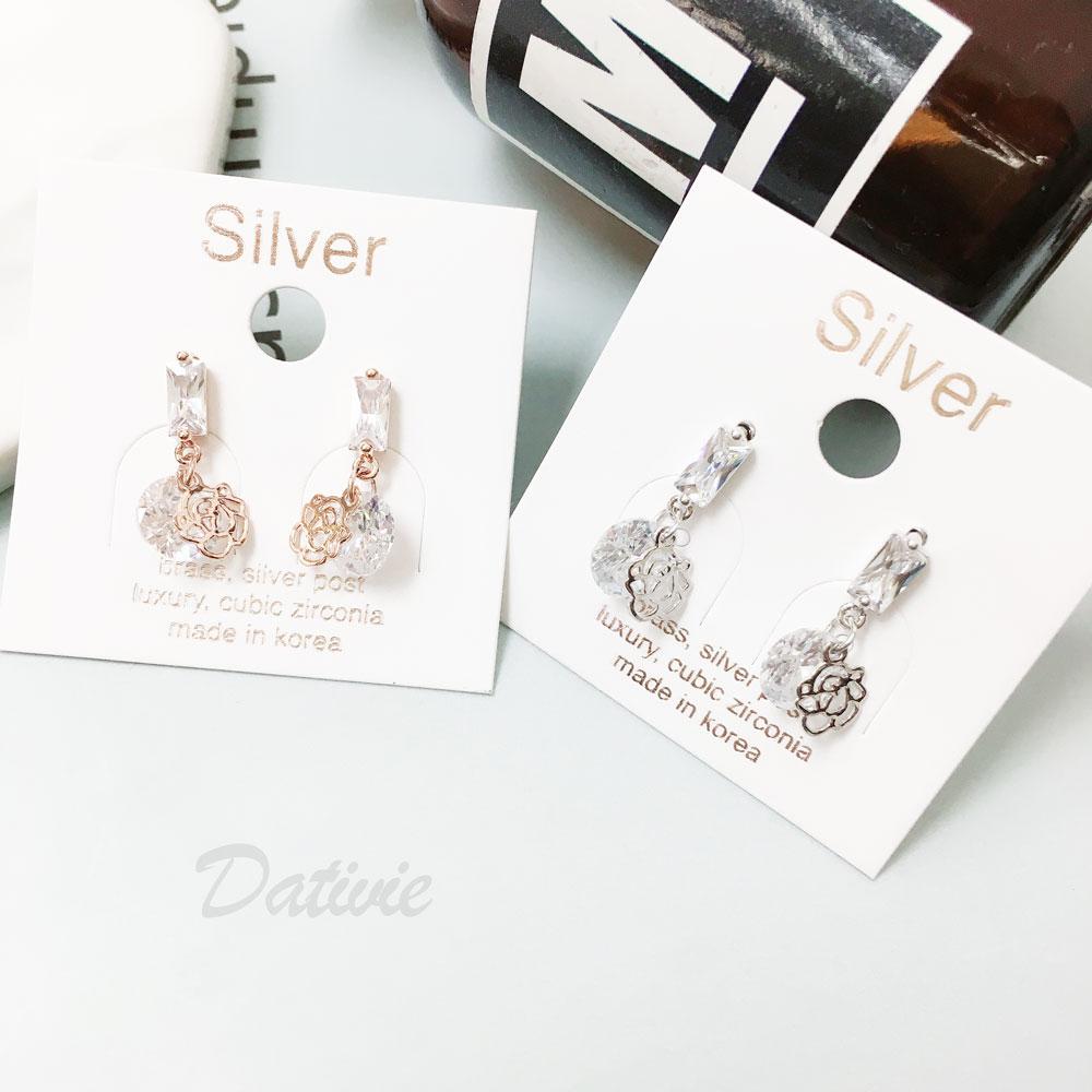 韓國 25純銀 明星款 水鑽 玫瑰 垂墜感 兩色 耳針式 耳環
