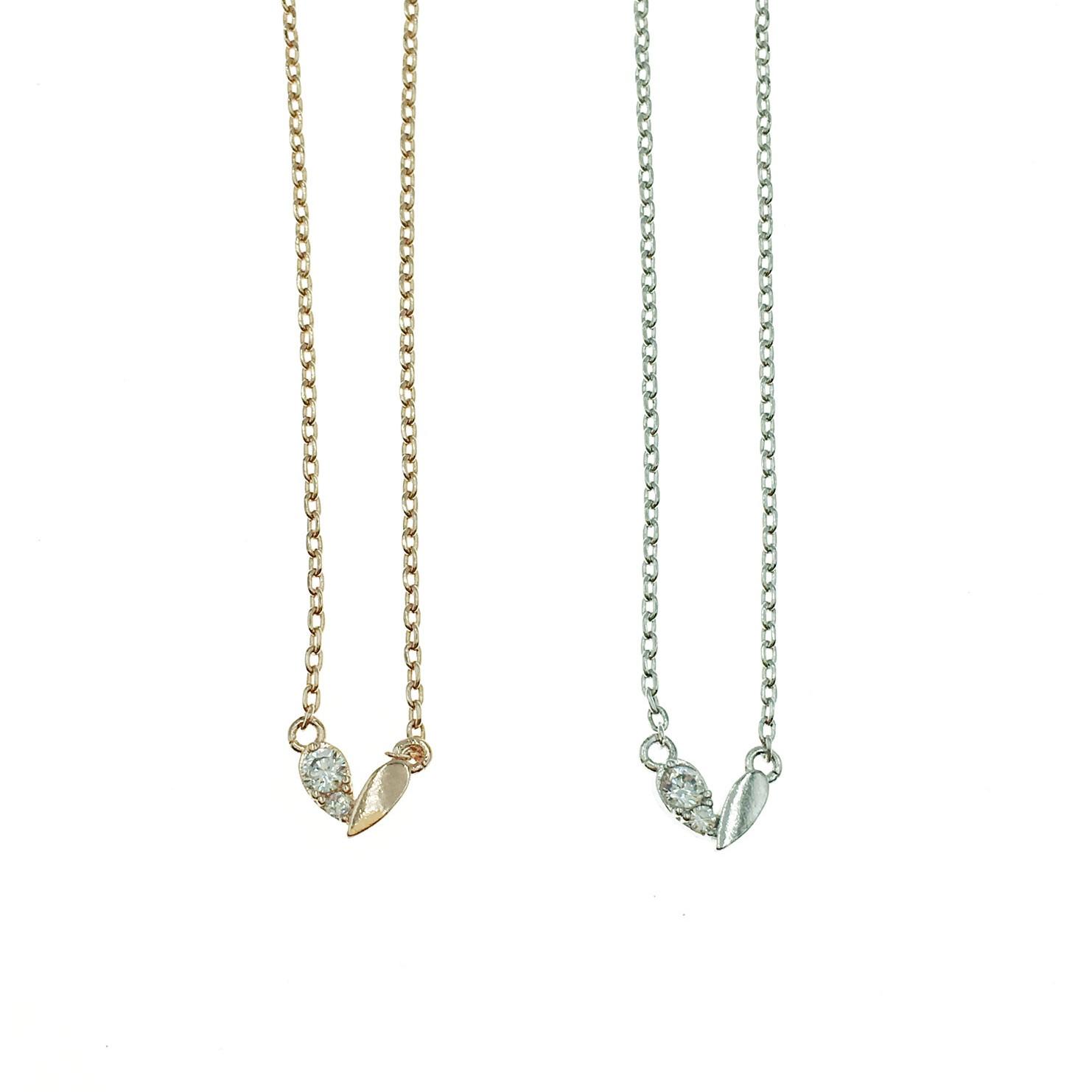 韓國 925純銀 明星款 水鑽 愛心 鎖骨練 兩色 項鍊