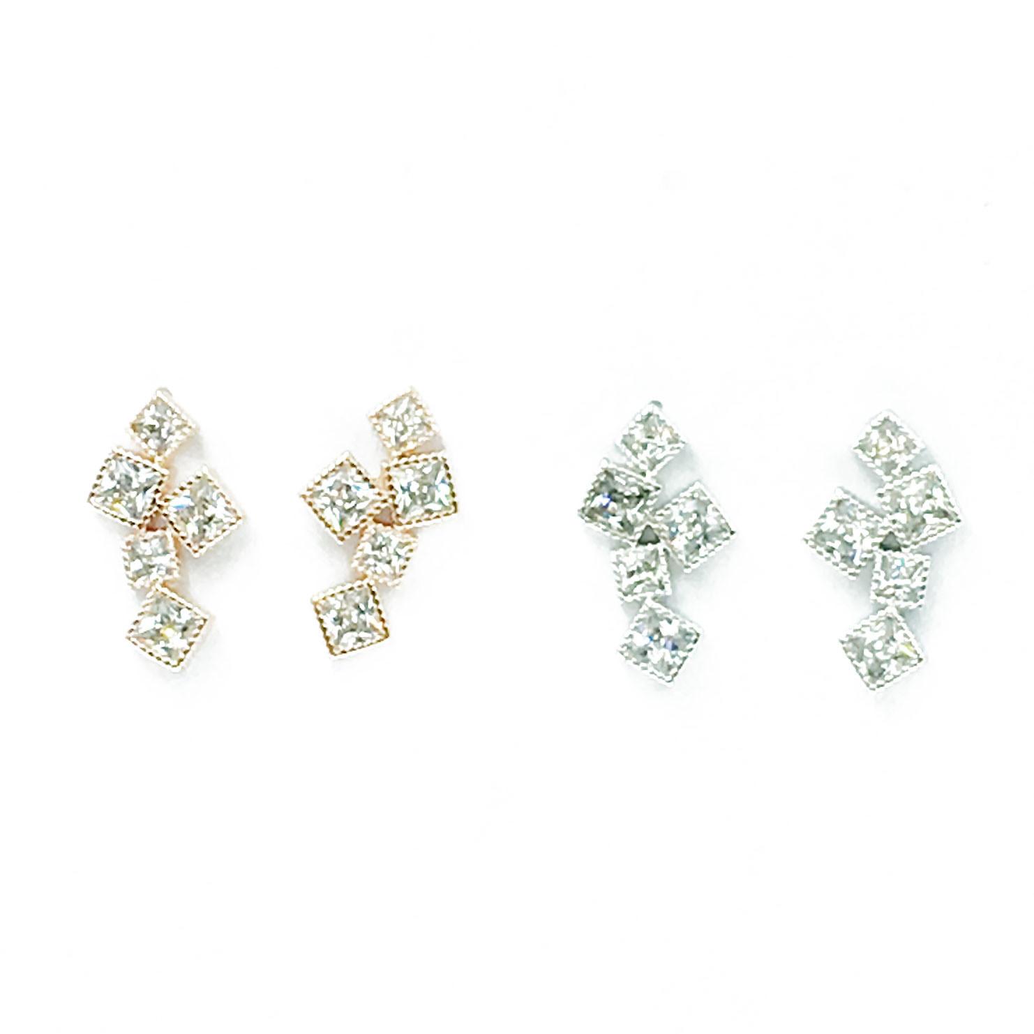韓國 925純銀 明星款 水鑽 方形 幾何 兩色 耳針式 耳環
