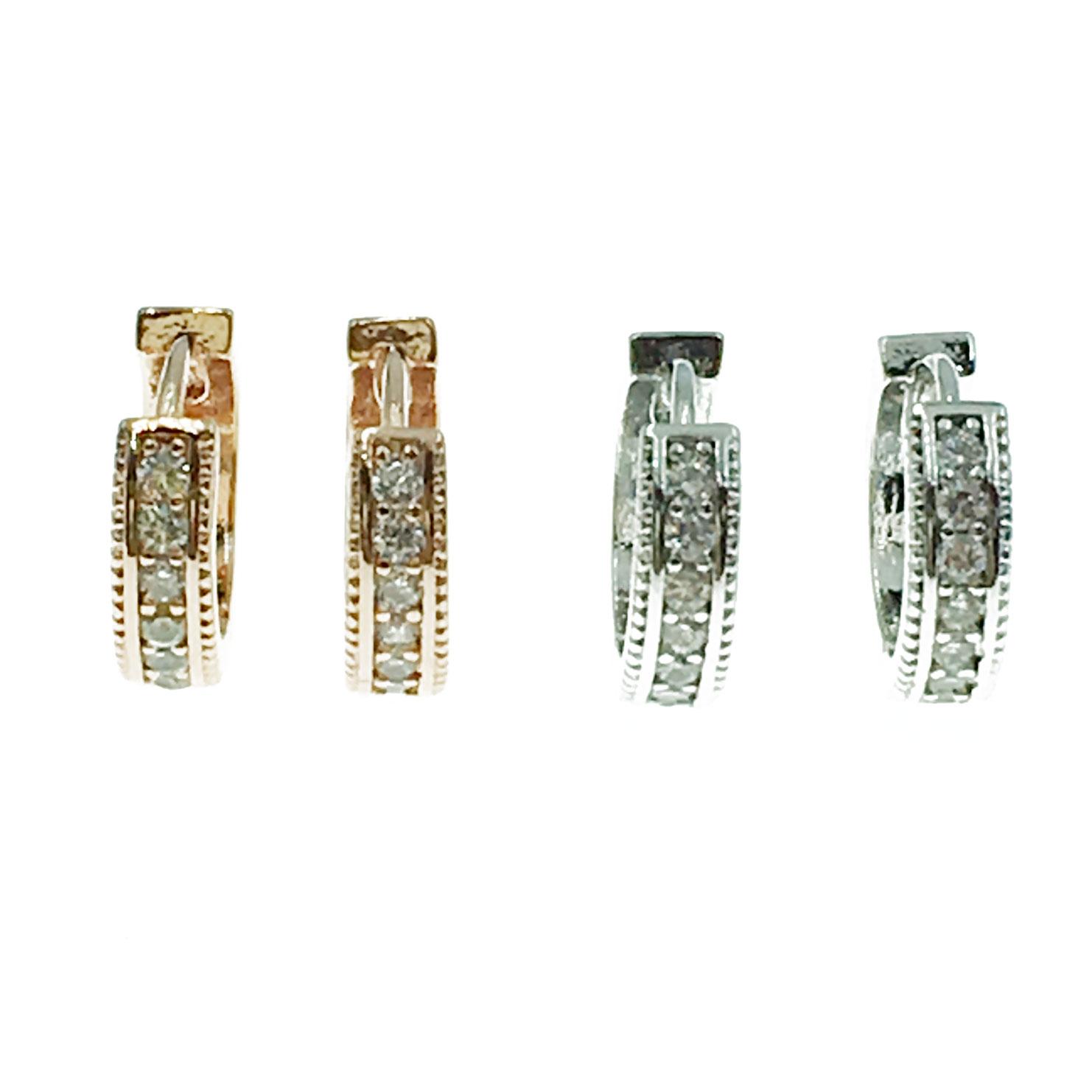 韓國 925純銀 明星款 水鑽 圓 兩色 耳針式 耳環