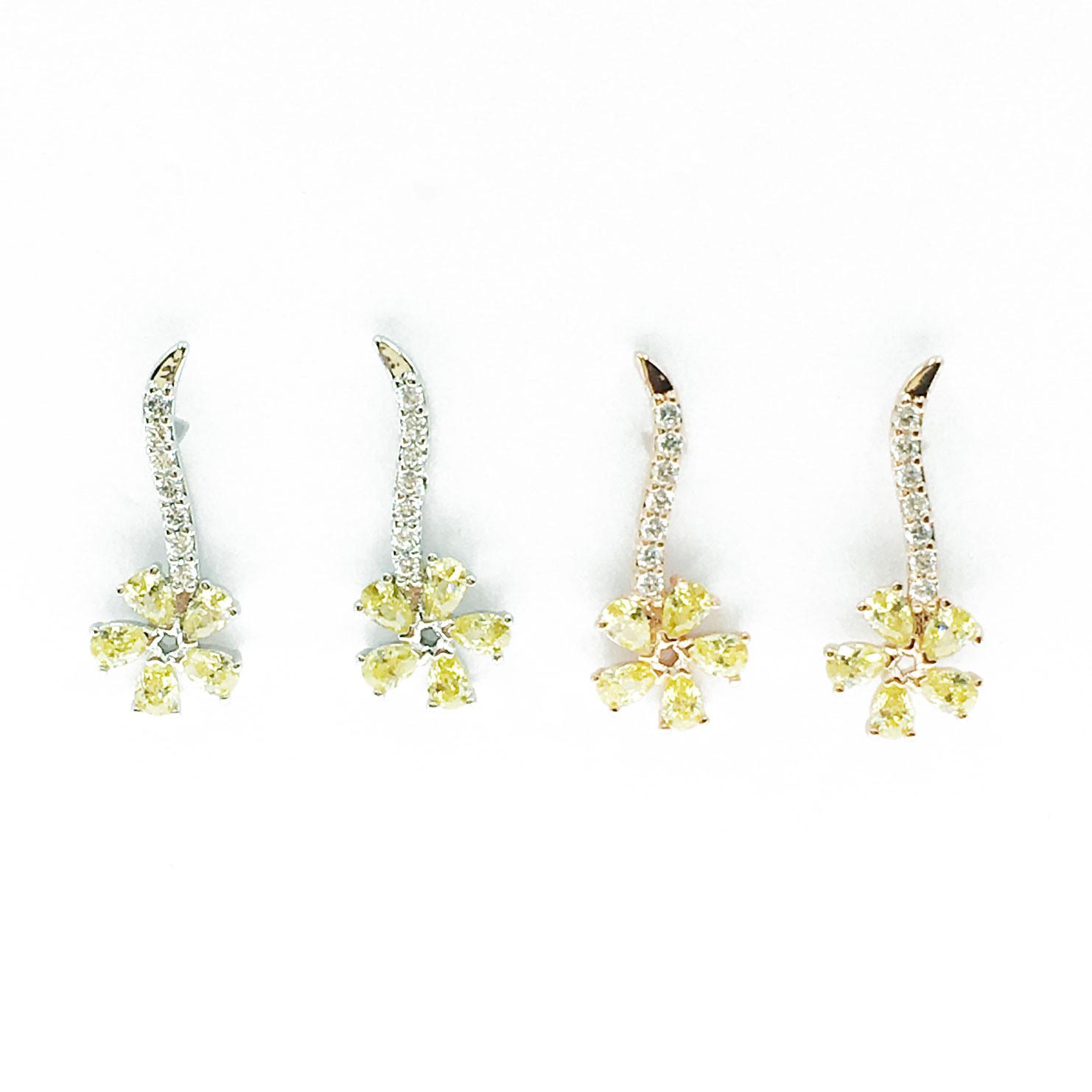 韓國 925純銀 花 水鑽 彩鑽 兩色 垂墜感 耳針式 耳環