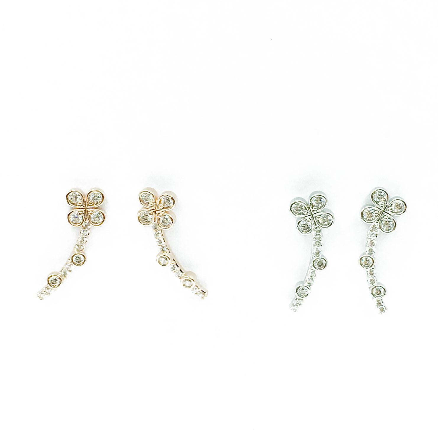 韓國 925純銀 明星款 水鑽 幸運草 兩色 垂墜感 耳針式 耳環