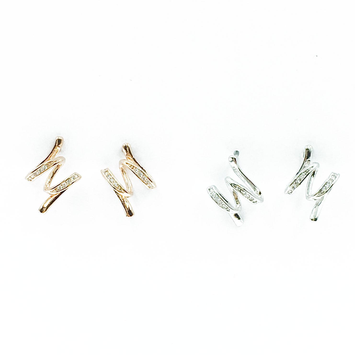 韓國 95純銀 明星款 水鑽 兩色 耳針 耳環