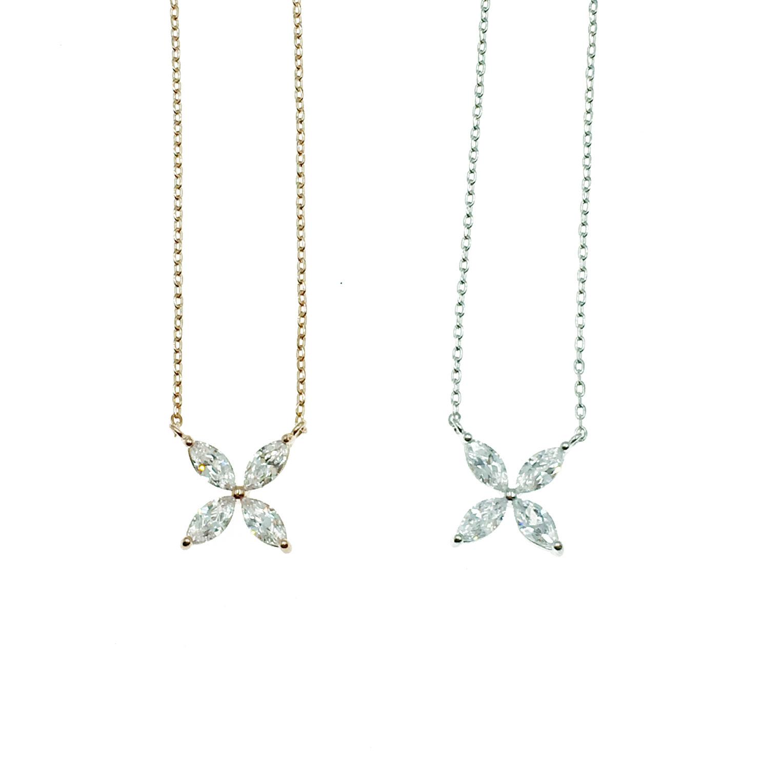 韓國 明星款 花 水鑽 兩色 鎖骨練 項鍊