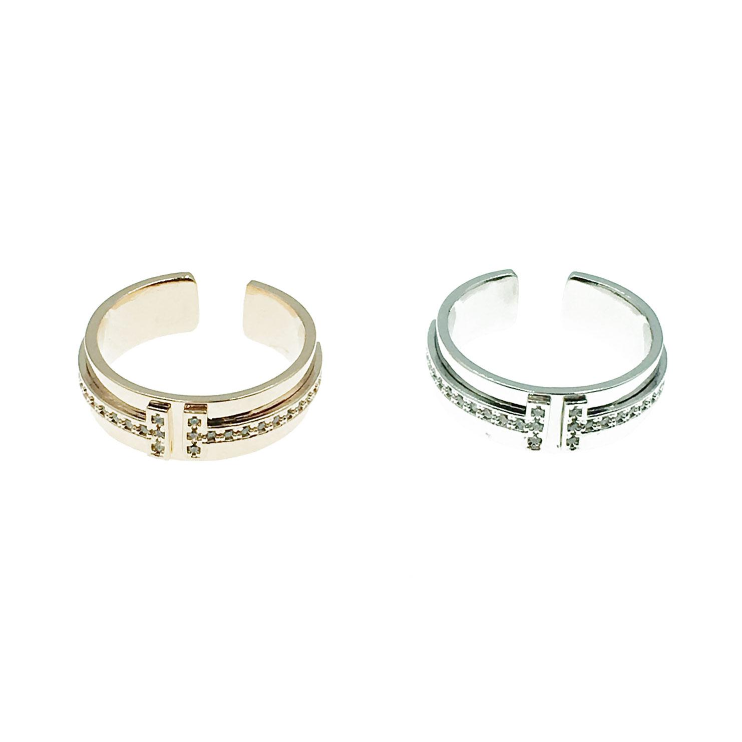 韓國 明星款 可調式 水鑽 兩色 戒指