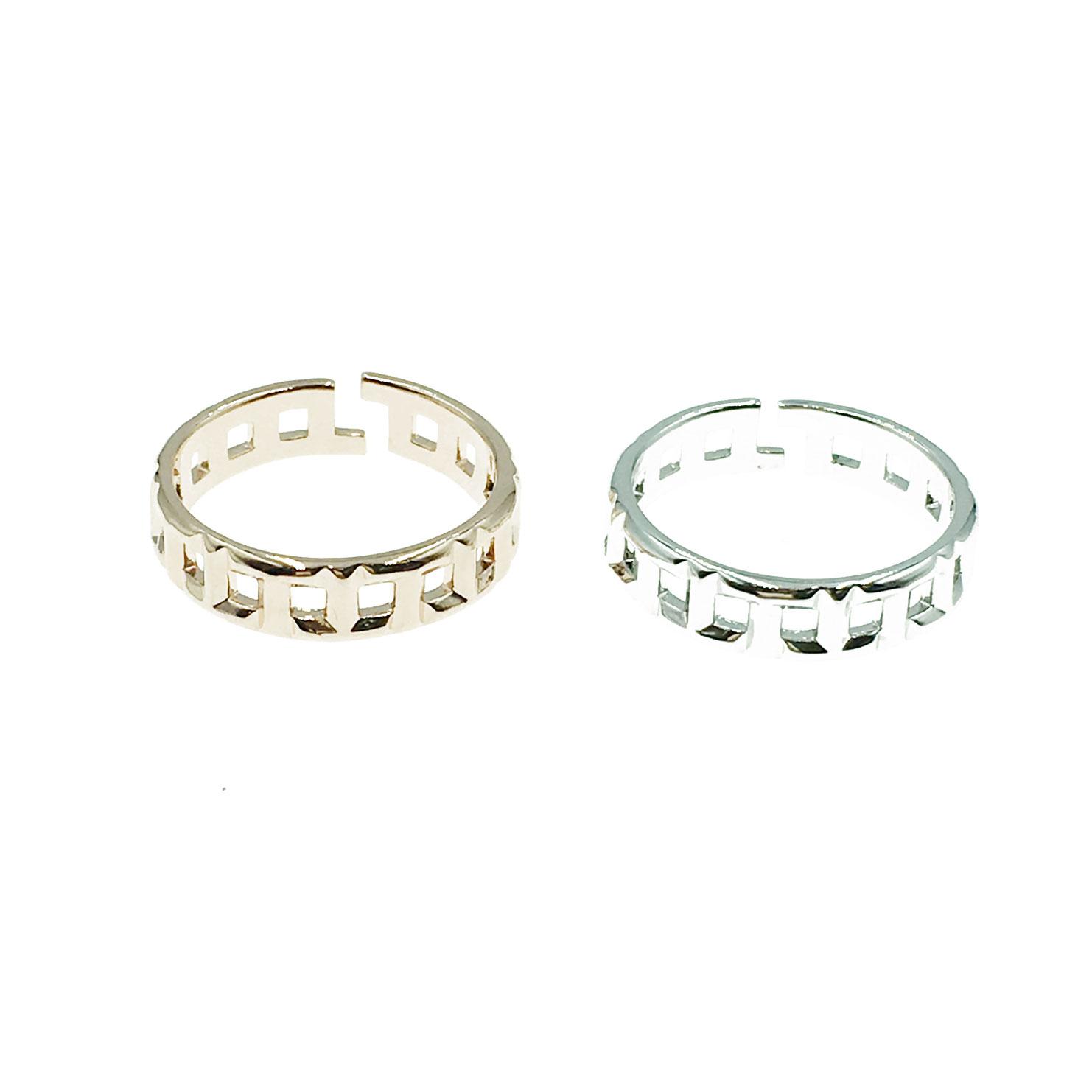 韓國 明星款 可調式 格子 兩色 戒指