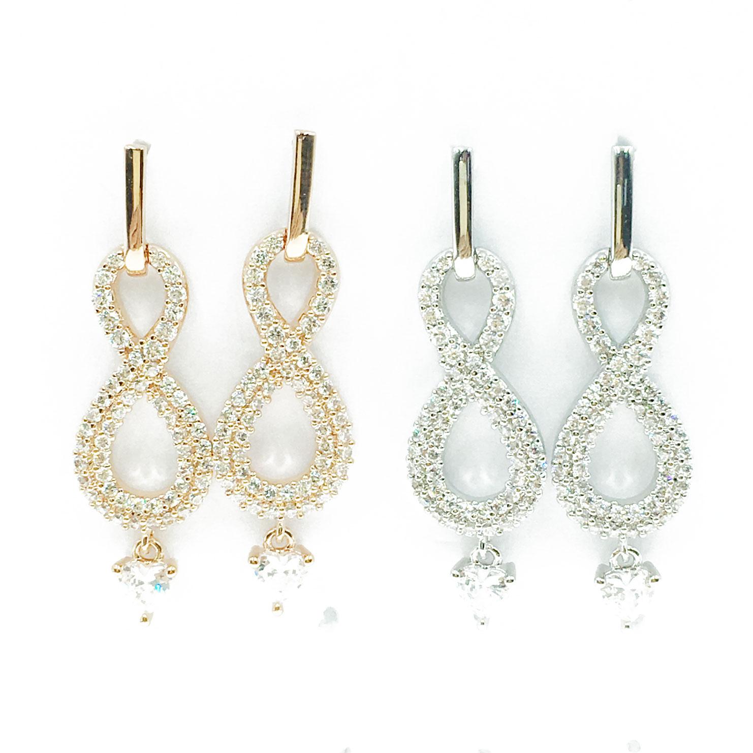 韓國 明星款 水鑽 愛心 兩色 垂墜感 耳針式 耳環