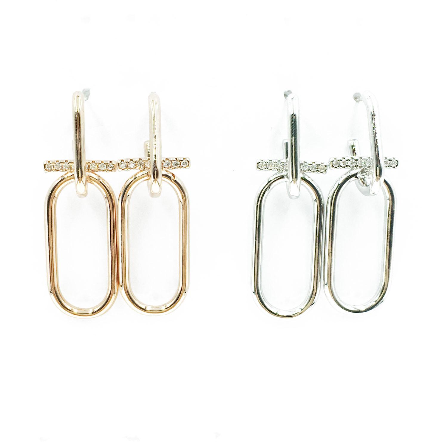 韓國 明星款 水鑽 兩色 垂墜感 耳針式 耳環