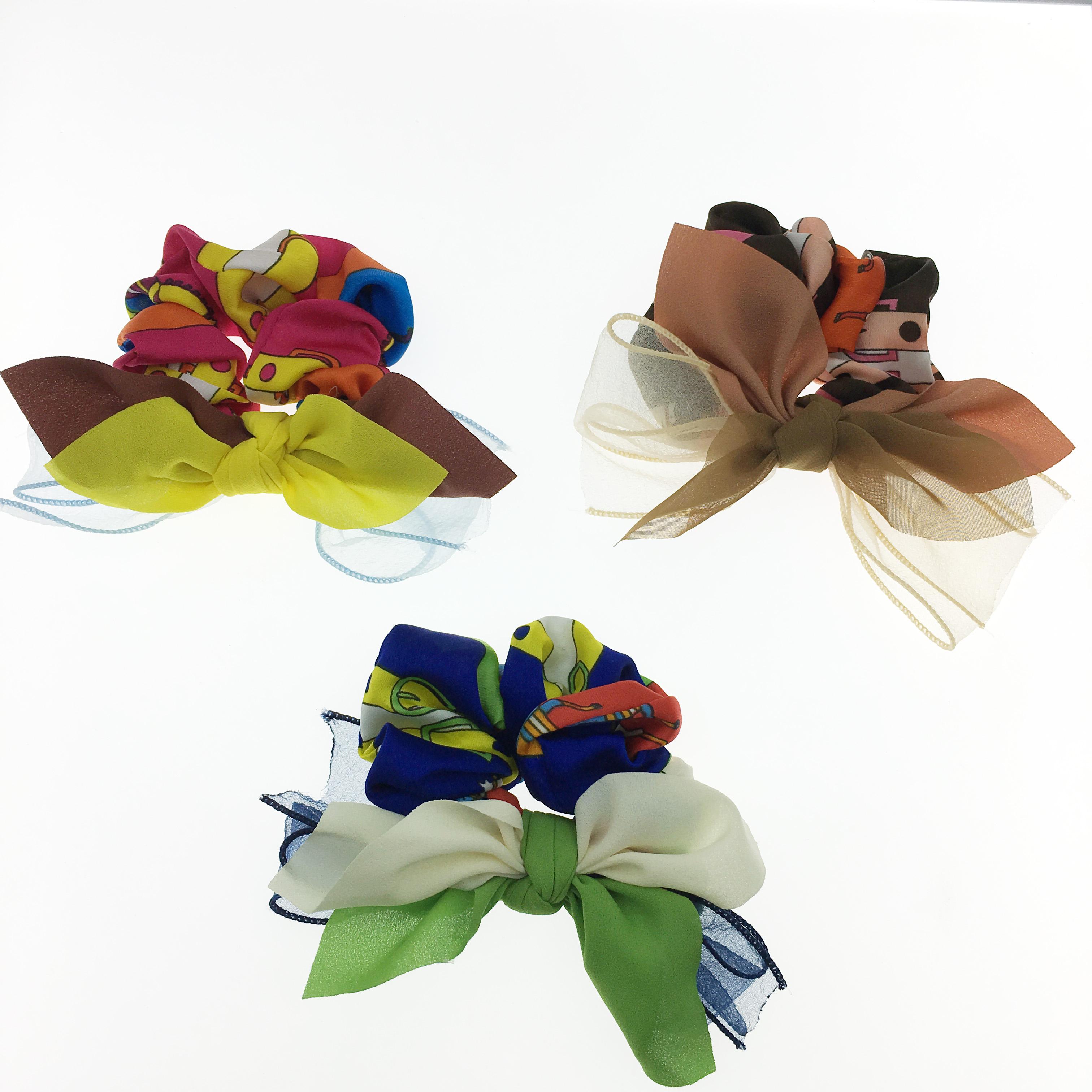 韓國 幾何 撞色 透絲 三色 大腸圈 髮圈 髮飾