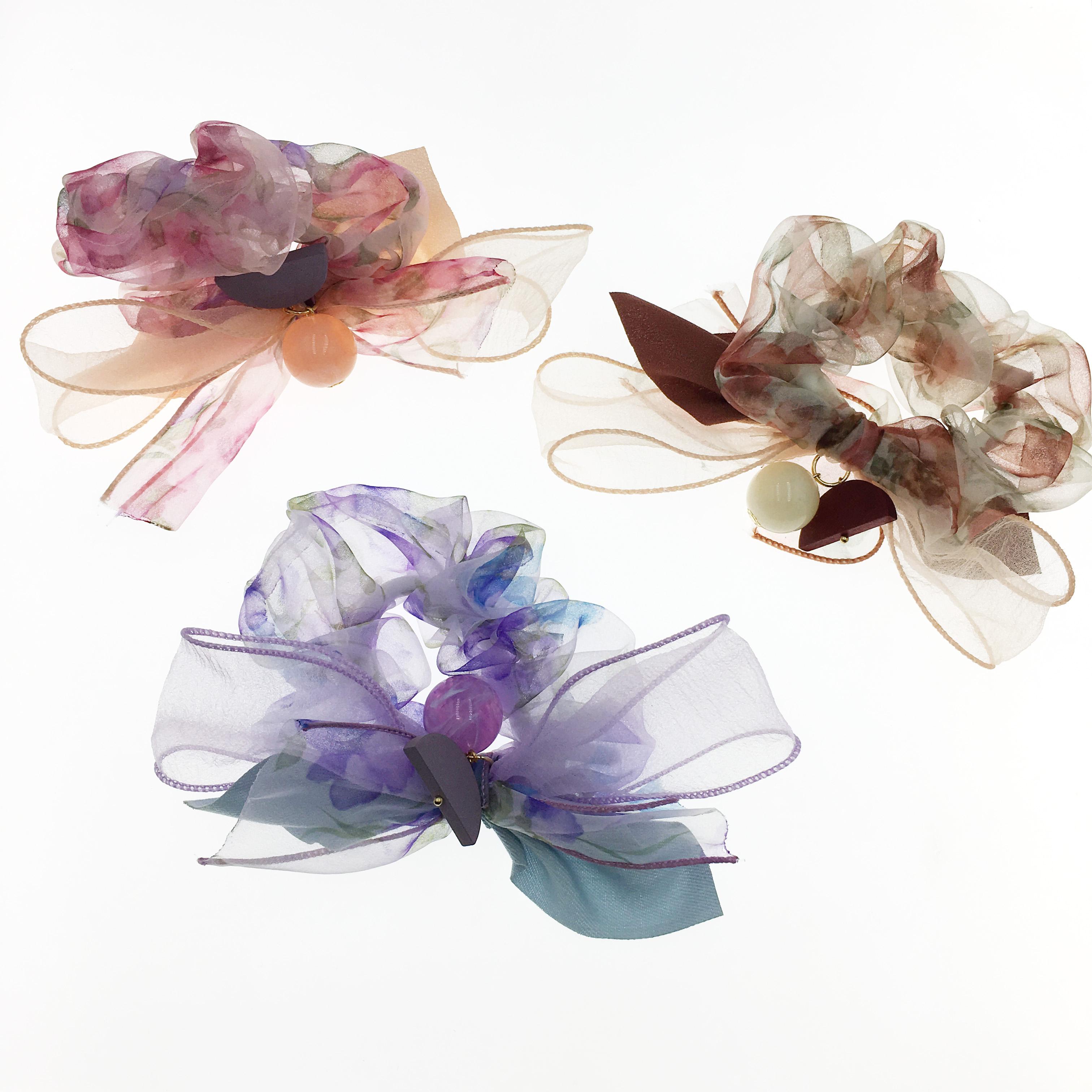 韓國 透絲 花 珍珠 積木 蝴蝶結 三色 大腸圈 髮飾