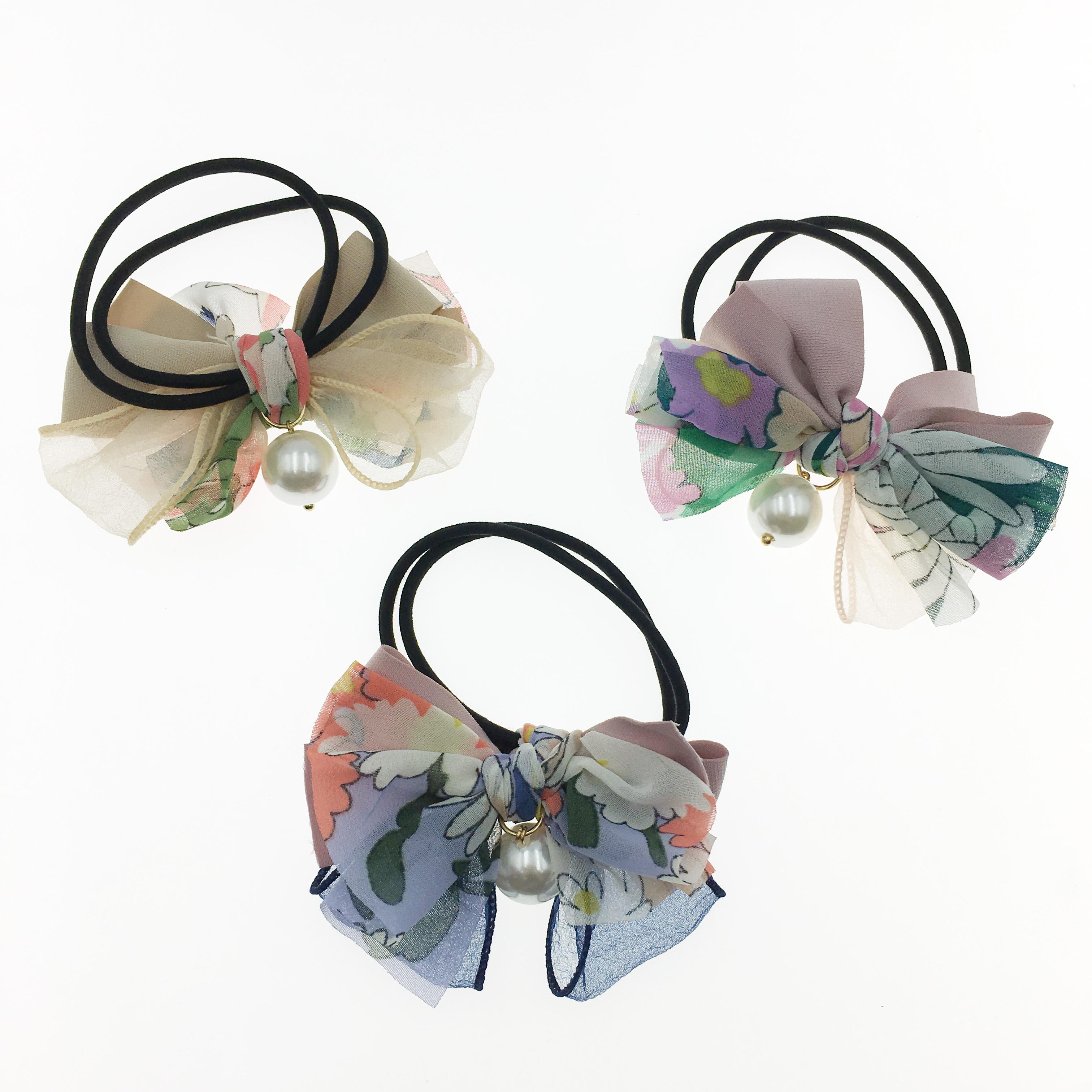 韓國 花朵 珍珠 蝴蝶結 透絲 三色 髮束 髮圈 髮飾