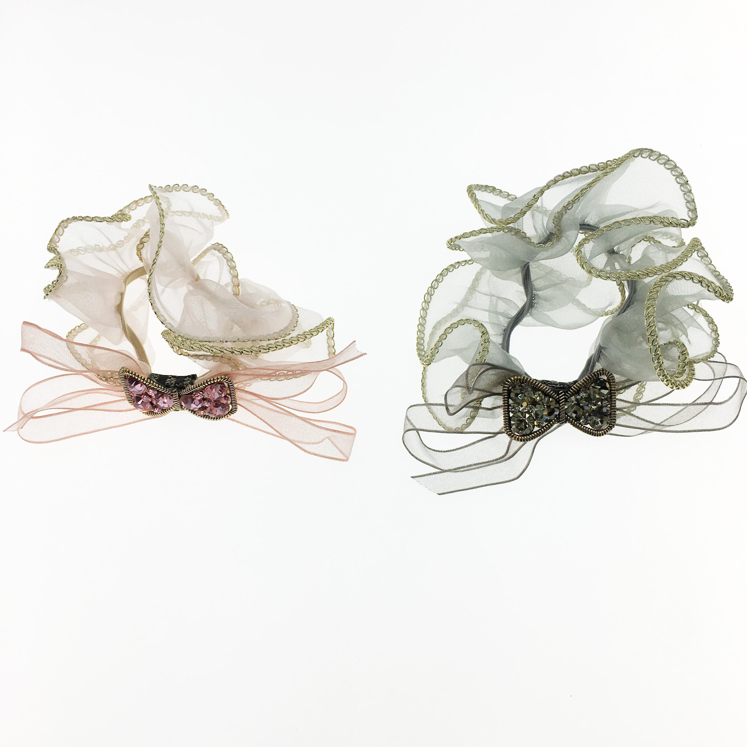韓國 水鑽 蝴蝶結 金邊 兩色 大腸圈 髮圈 髮飾