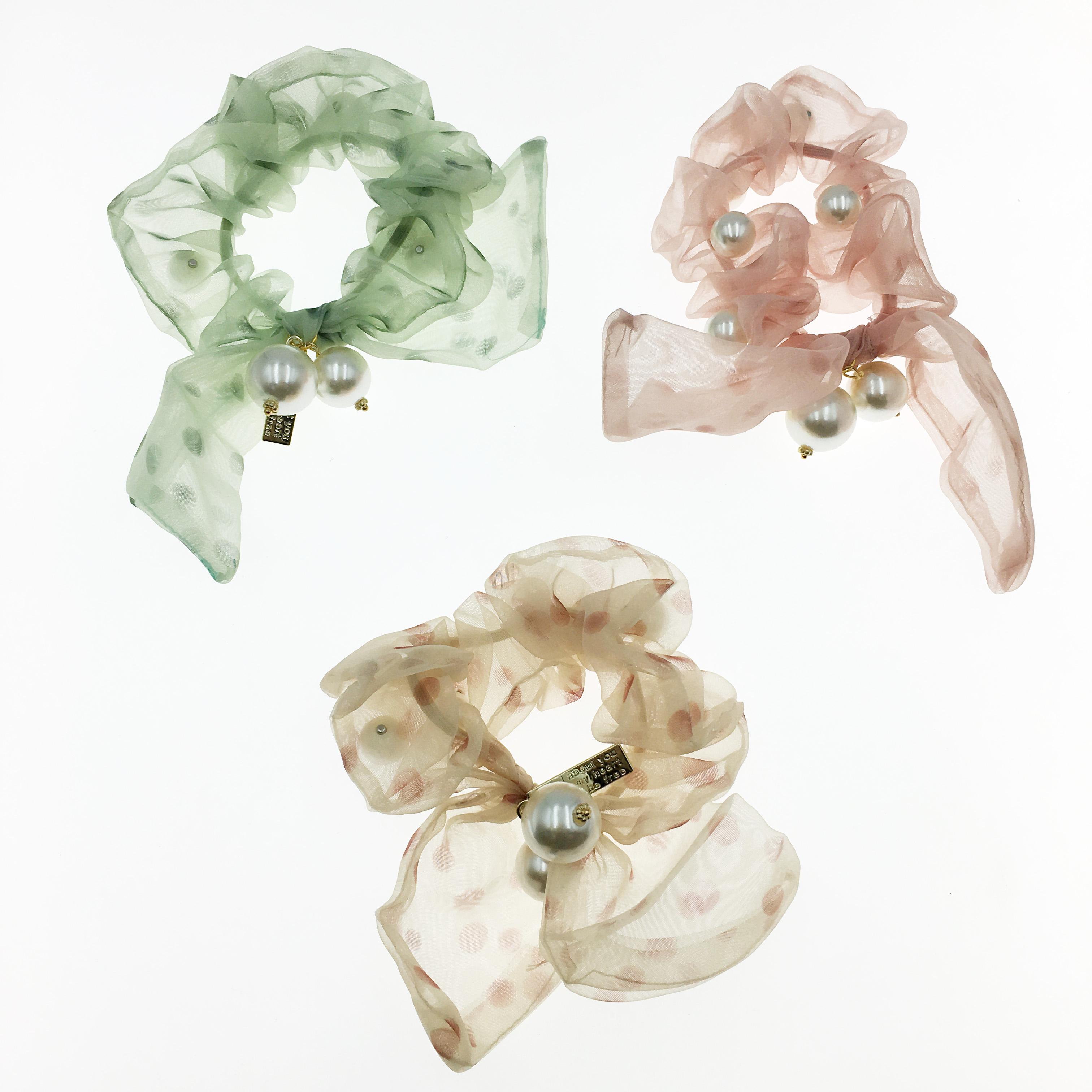 韓國 點點 蝴蝶結 珍珠 英文 三色 大腸圈 髮圈 髮飾