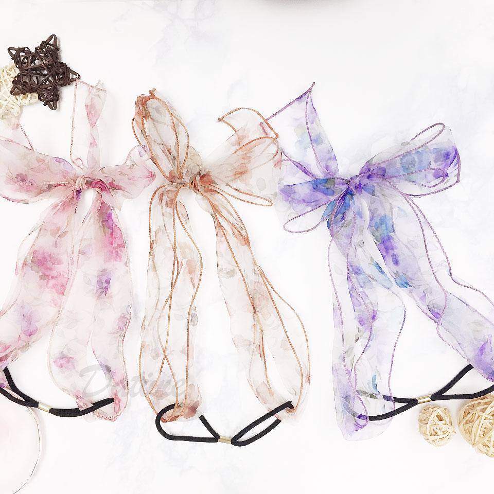 韓國 花朵 透絲 蝴蝶結 三色 髮帶 髮飾