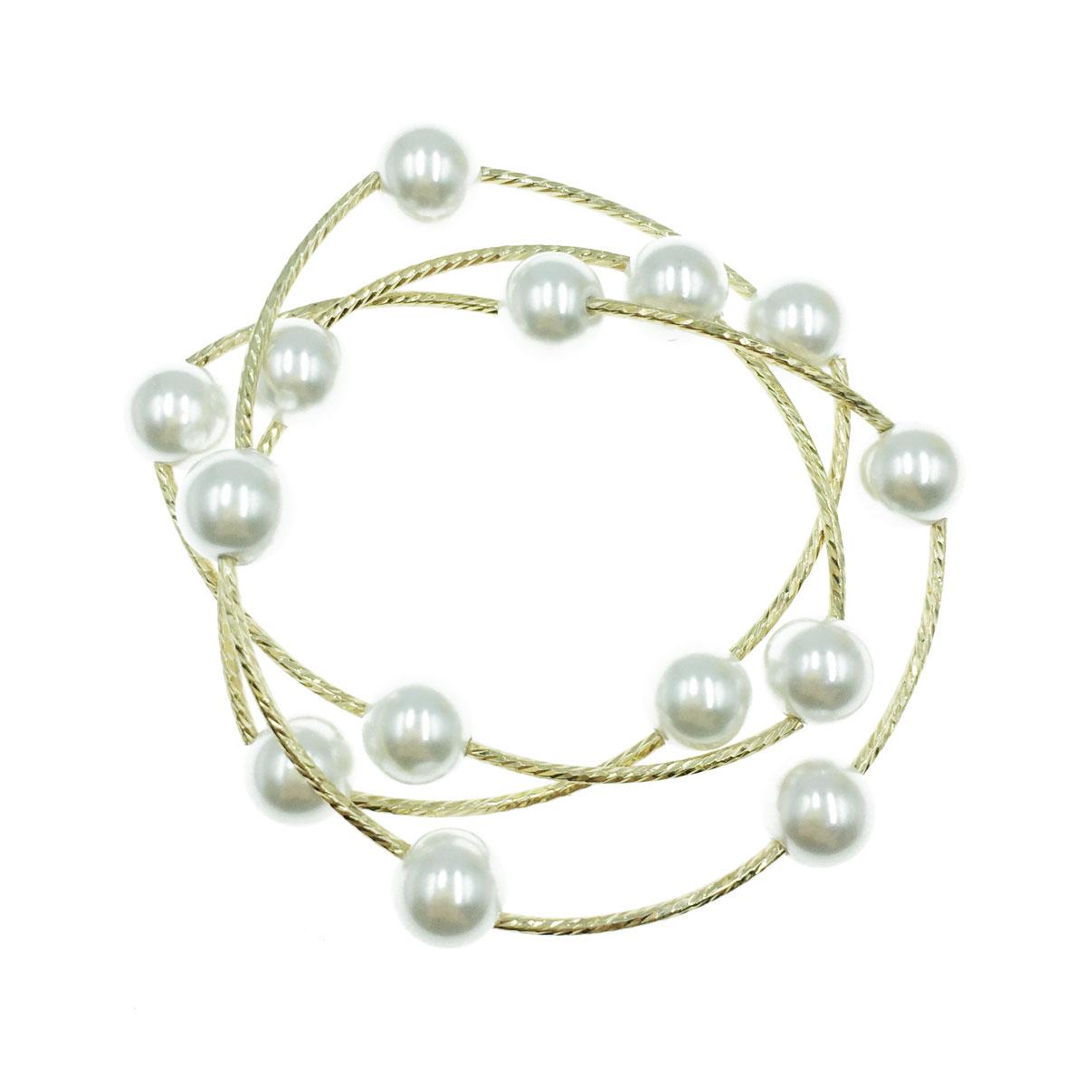 韓國 珍珠 簡約 金邊 手鍊