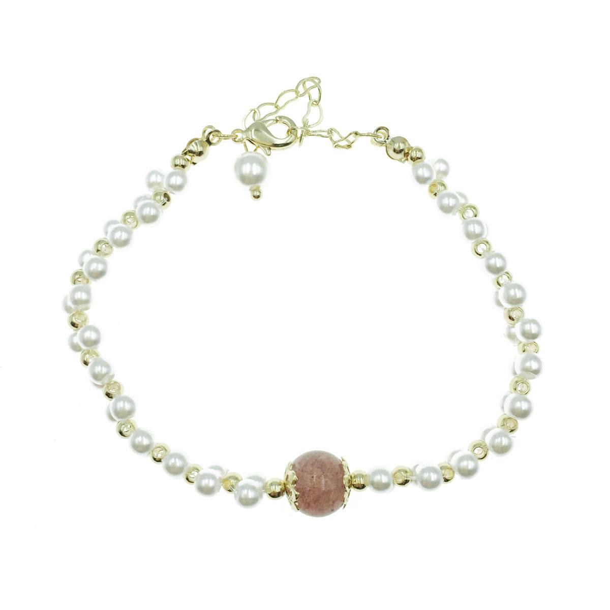 韓國 珍珠 彩珠 愛心 可調式 手鍊
