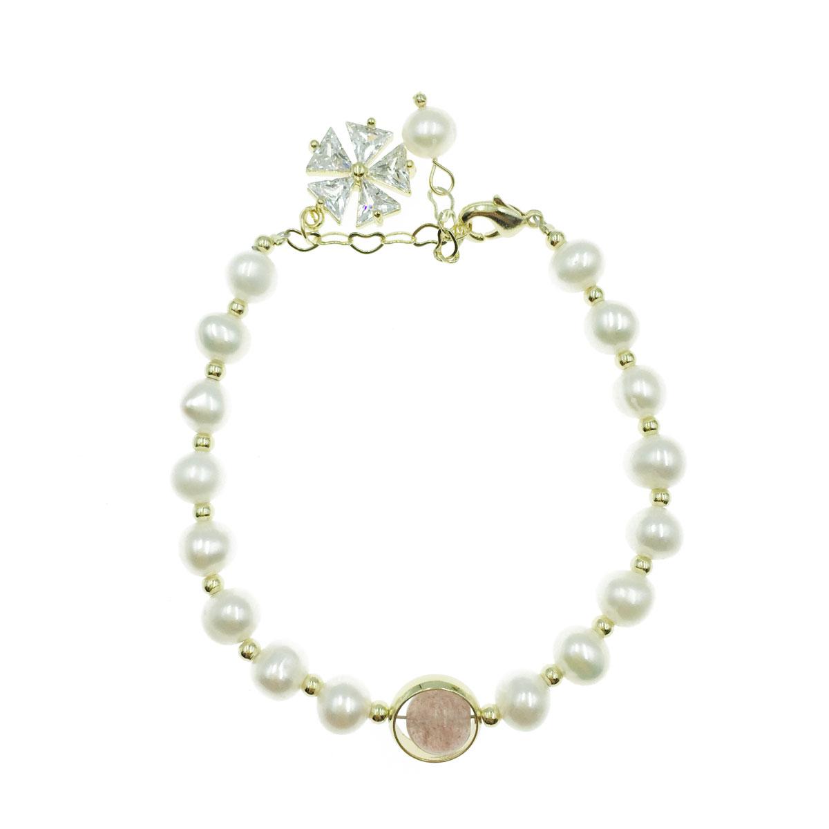 韓國 天然珠 彩珠 水鑽 雪花 愛心 可調式 手鍊